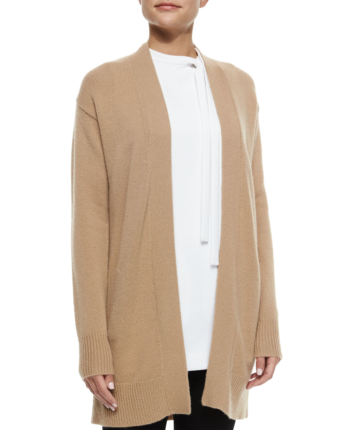 Theory Analiese Long Cashmere Cardigan in Natural | Lyst