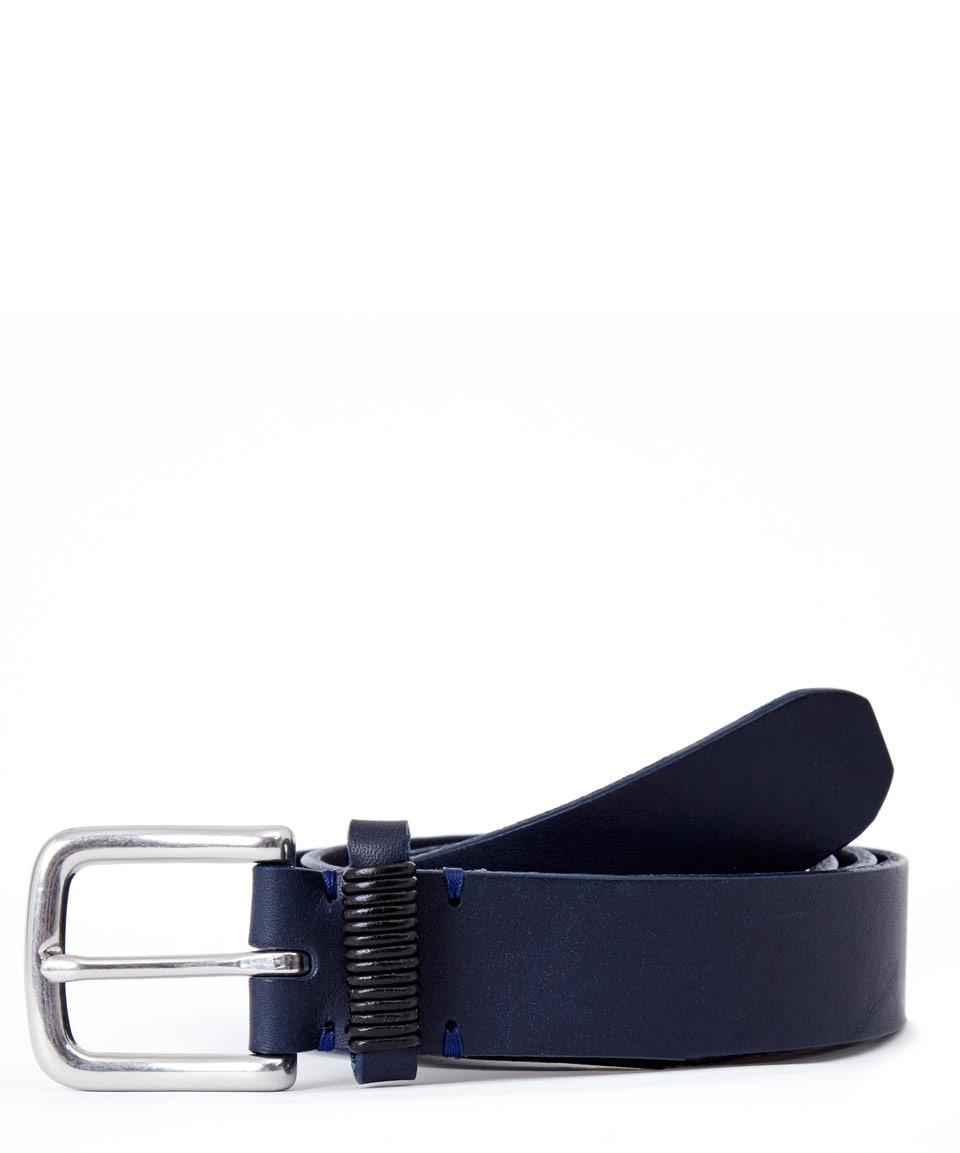 folk navy leather belt in blue for navy lyst