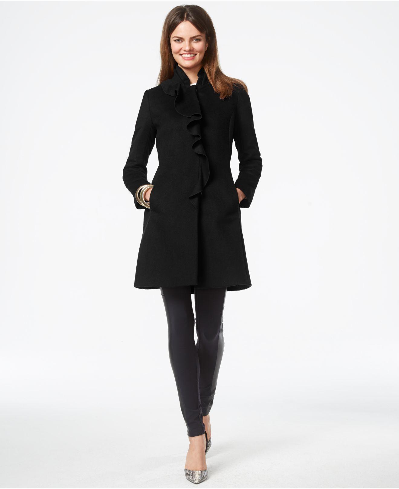 Dkny Ruffle-front Wool-blend Walker Coat in Black | Lyst