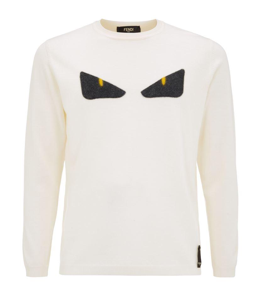 Blanc Fendi Eyes Embroided Sweatshirt Embroided Eyes Sweatshirt X7ngz 8cfd4009e88