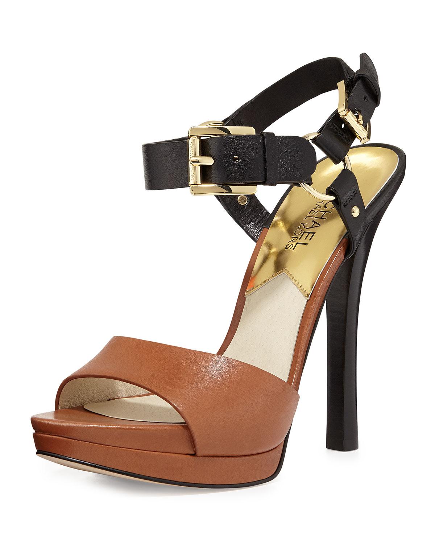 Lyst Michael Michael Kors Chunky Heel Sandals In Black