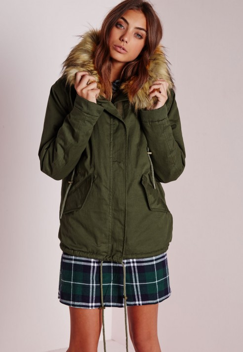 Missguided Fur Hood Short Parka Coat Khaki/camel in Green | Lyst