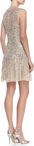 Aidan Mattox Sequined Beaded Deco Cocktail Dress In Gold