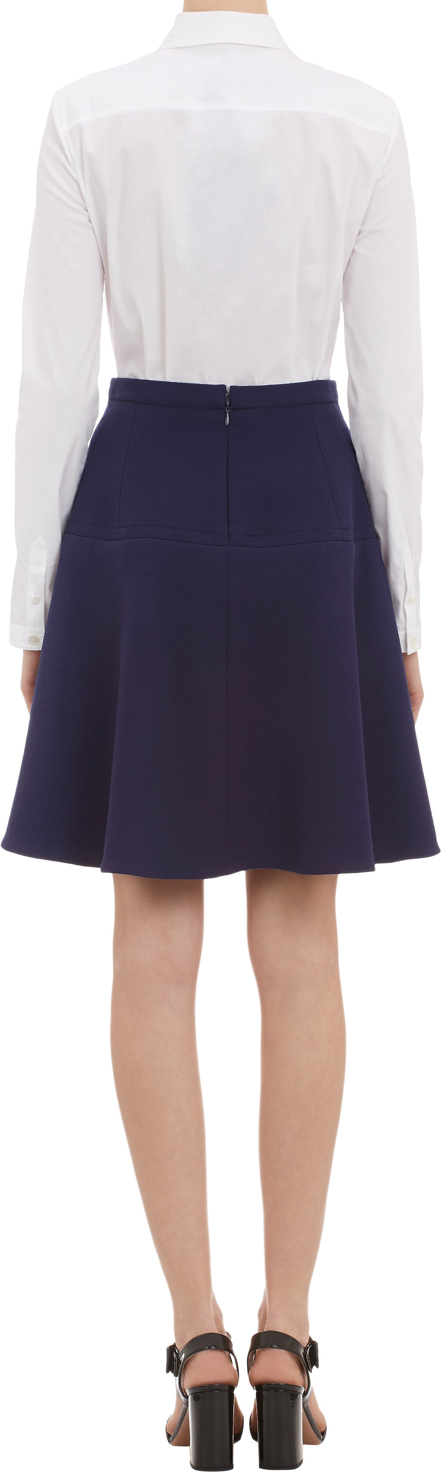 carven doubleface crepe flared skirt in blue lyst