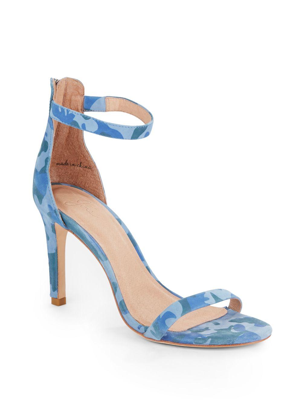 d4e8275de04d Lyst - Joie Abbott Camouflage-print Suede Sandals in Blue