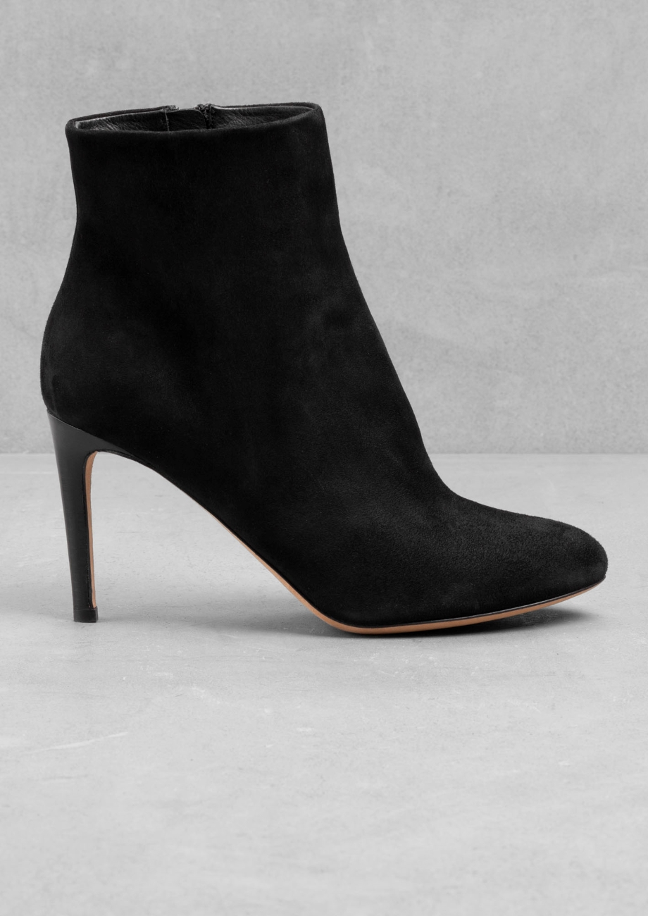 a26208bcd85   Other Stories Suede Stiletto Ankle Boots in Black - Lyst