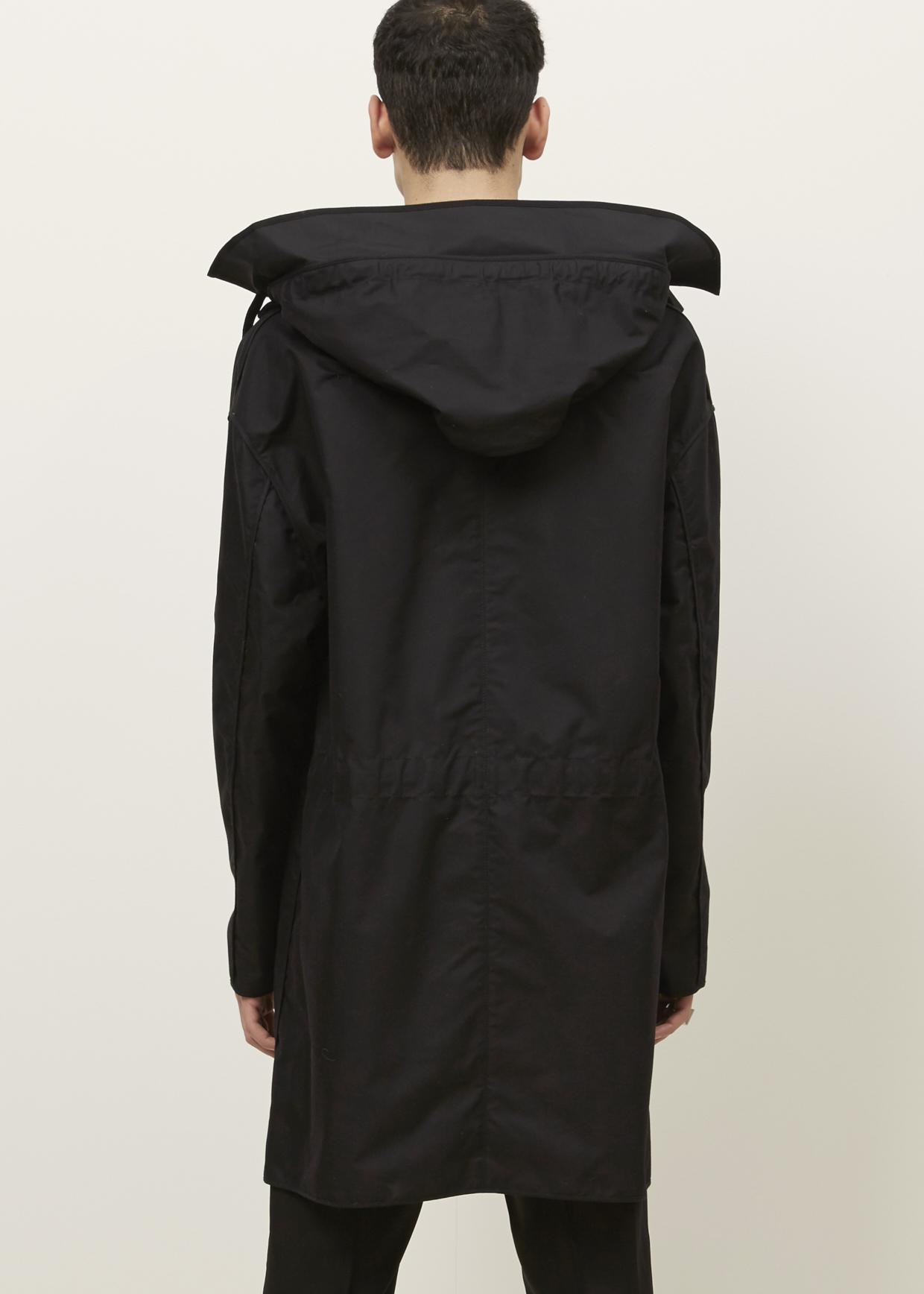 Lanvin Black Tech Cotton Duffle Coat in Black for Men | Lyst