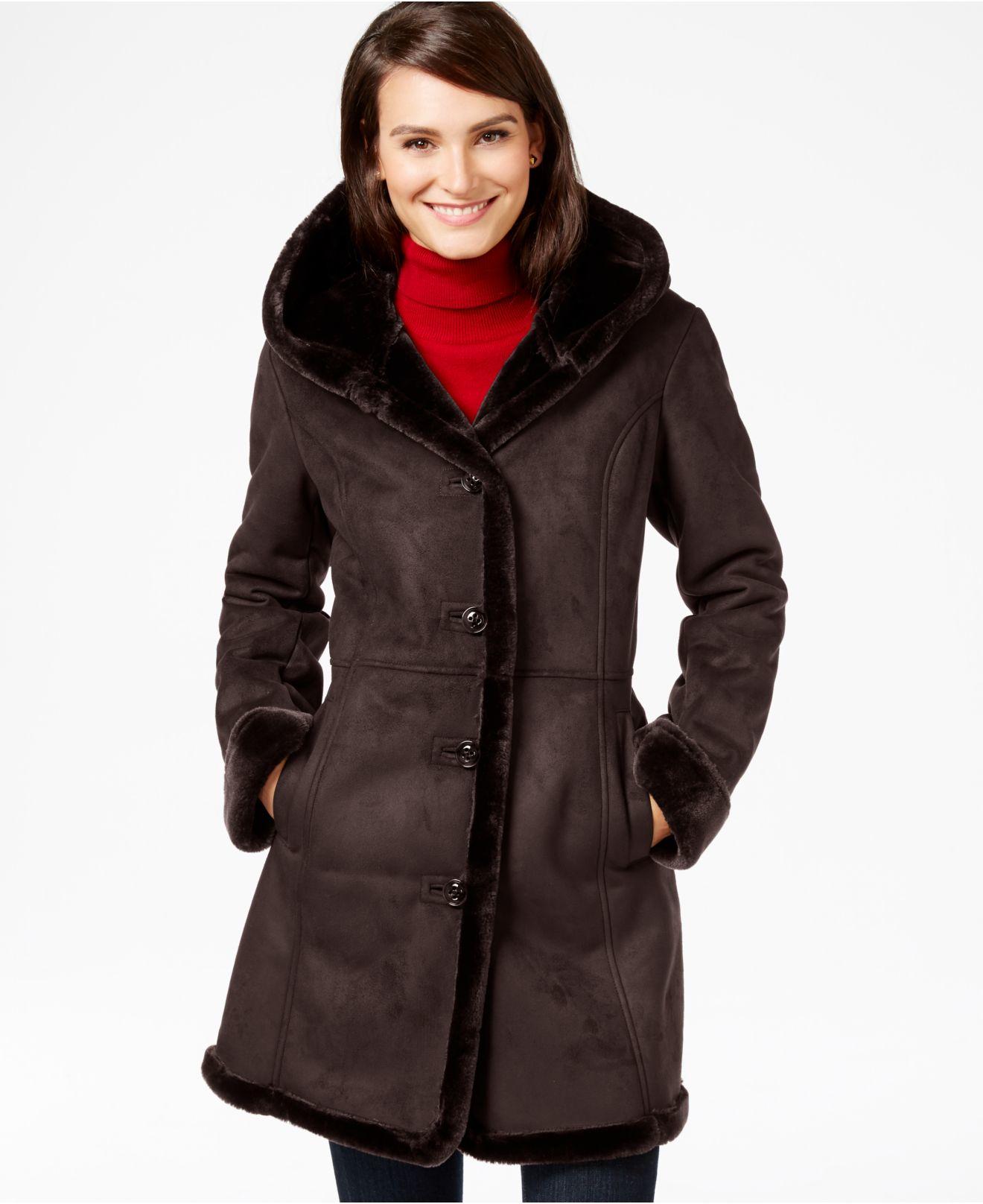 5b0c2c771107d Lyst - Jones New York Shawl-collar Faux-shearling Coat in Brown