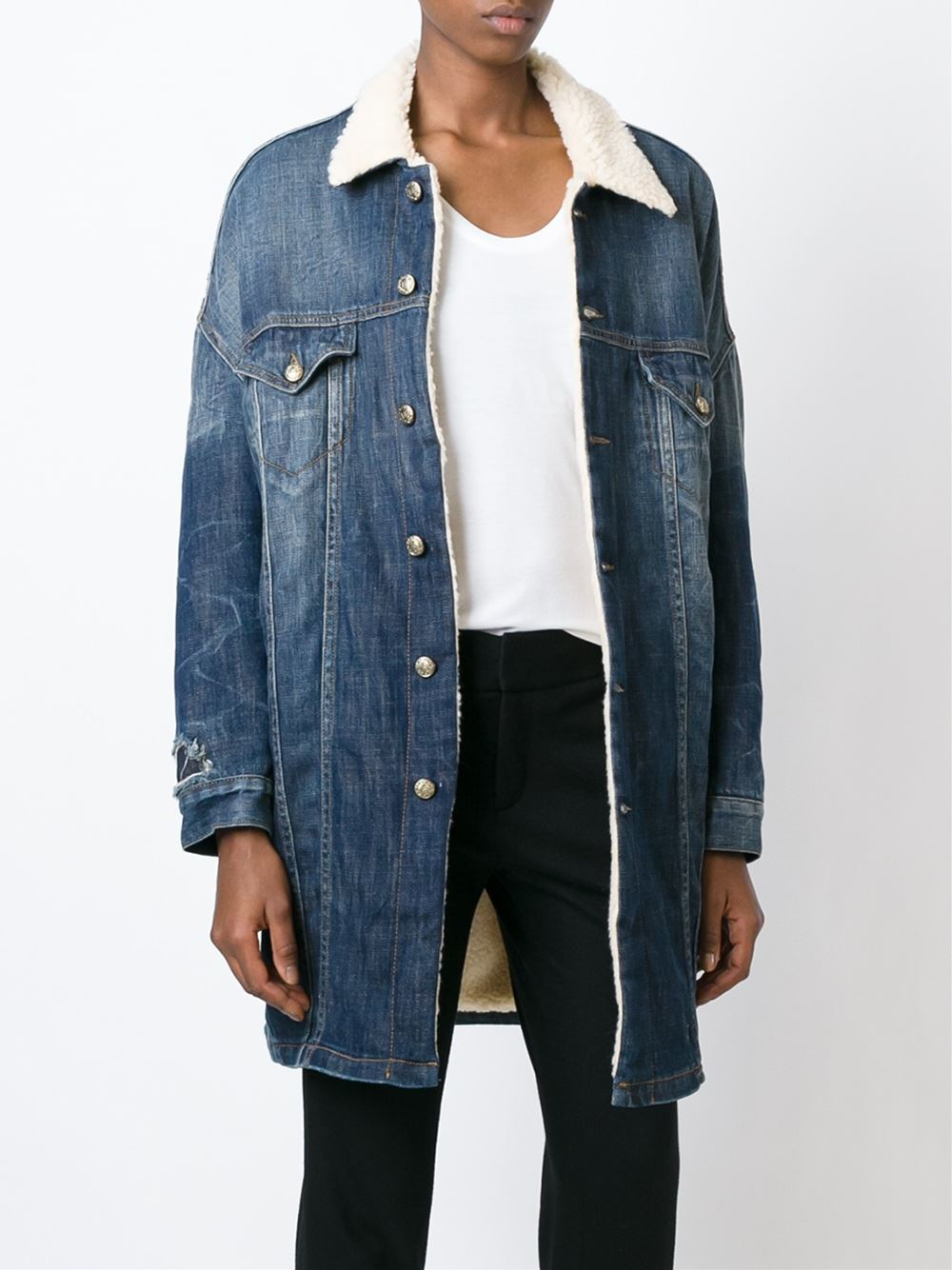 R13 Shearling Lined Denim Coat in Blue | Lyst