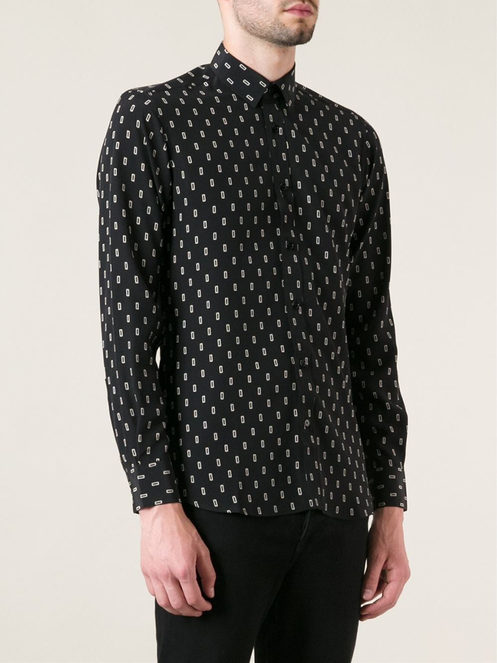 80a918993b2 Lyst - Saint laurent Printed Shirt in Black for Men