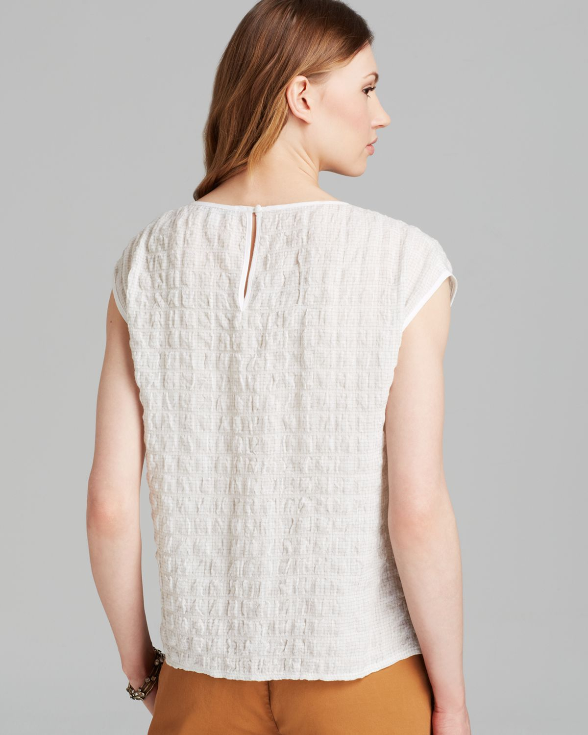 Lyst - Eileen Fisher Boat Neck Cap Sleeve Top in White