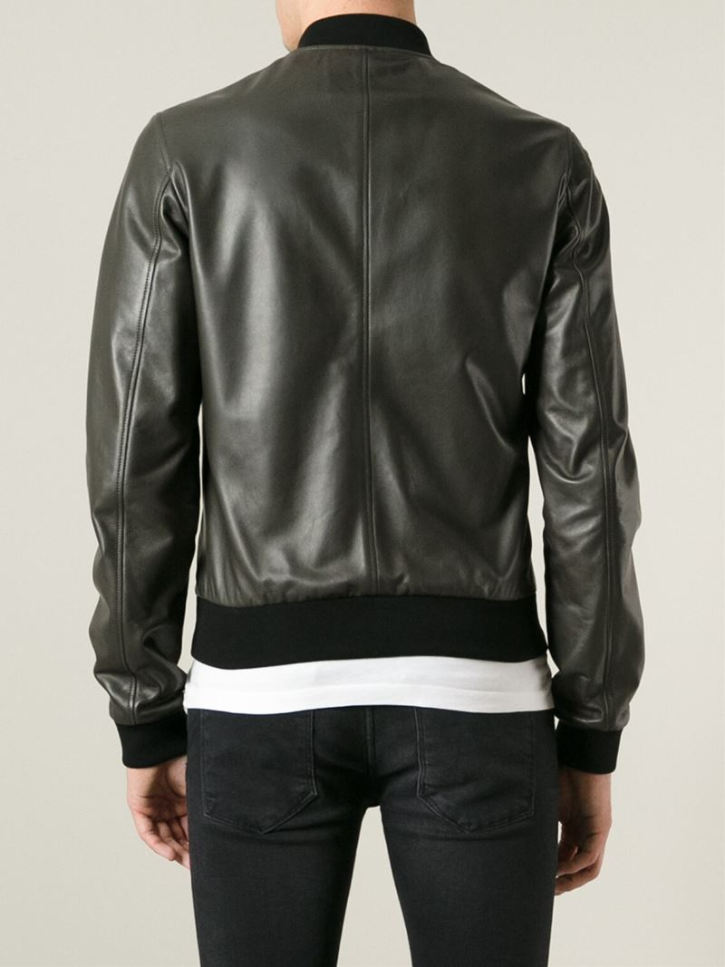 Dolce &amp gabbana Leather Bomber Jacket in Green for Men | Lyst