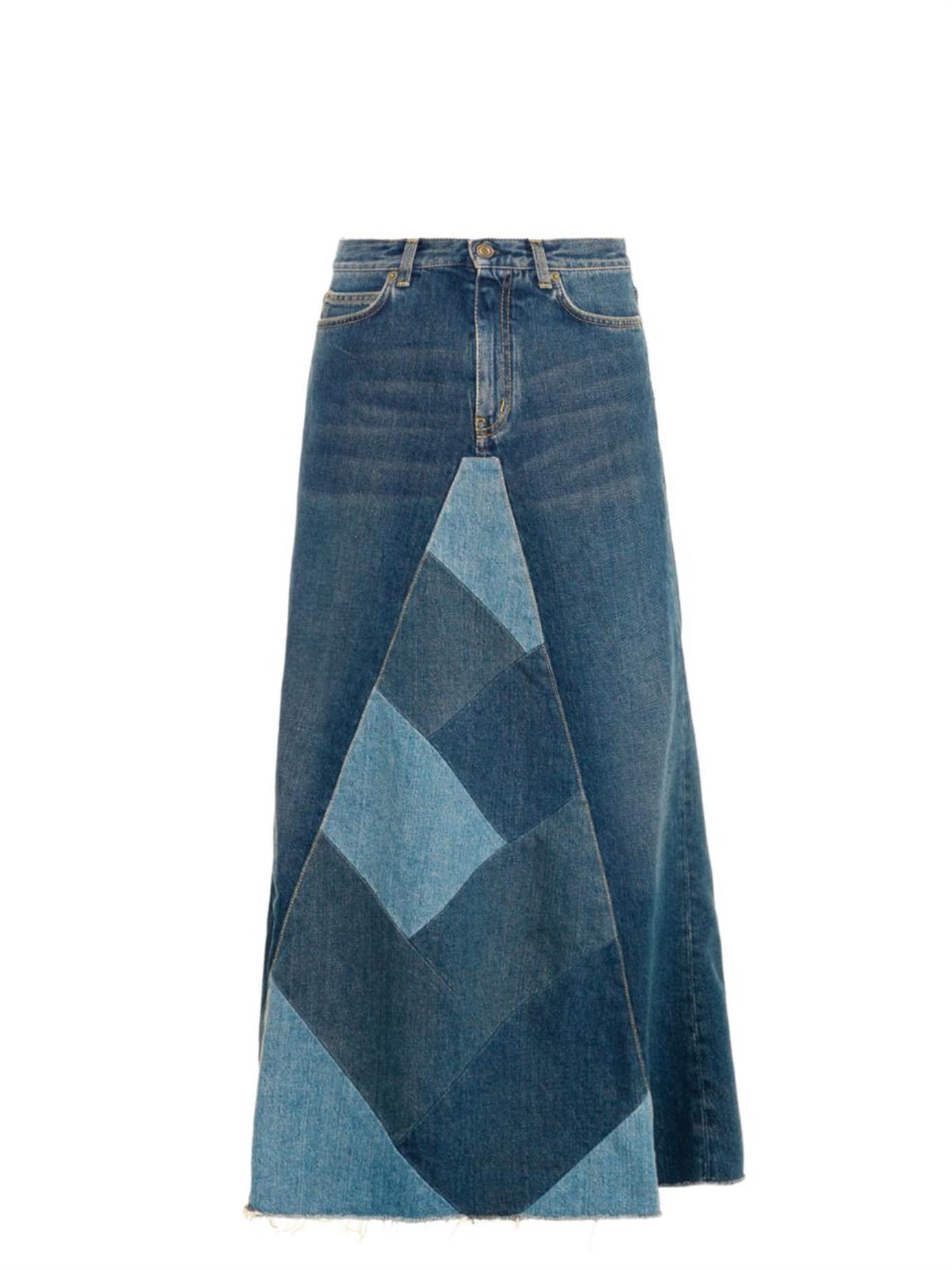 Saint laurent Patchwork Denim Maxi Skirt in Blue | Lyst