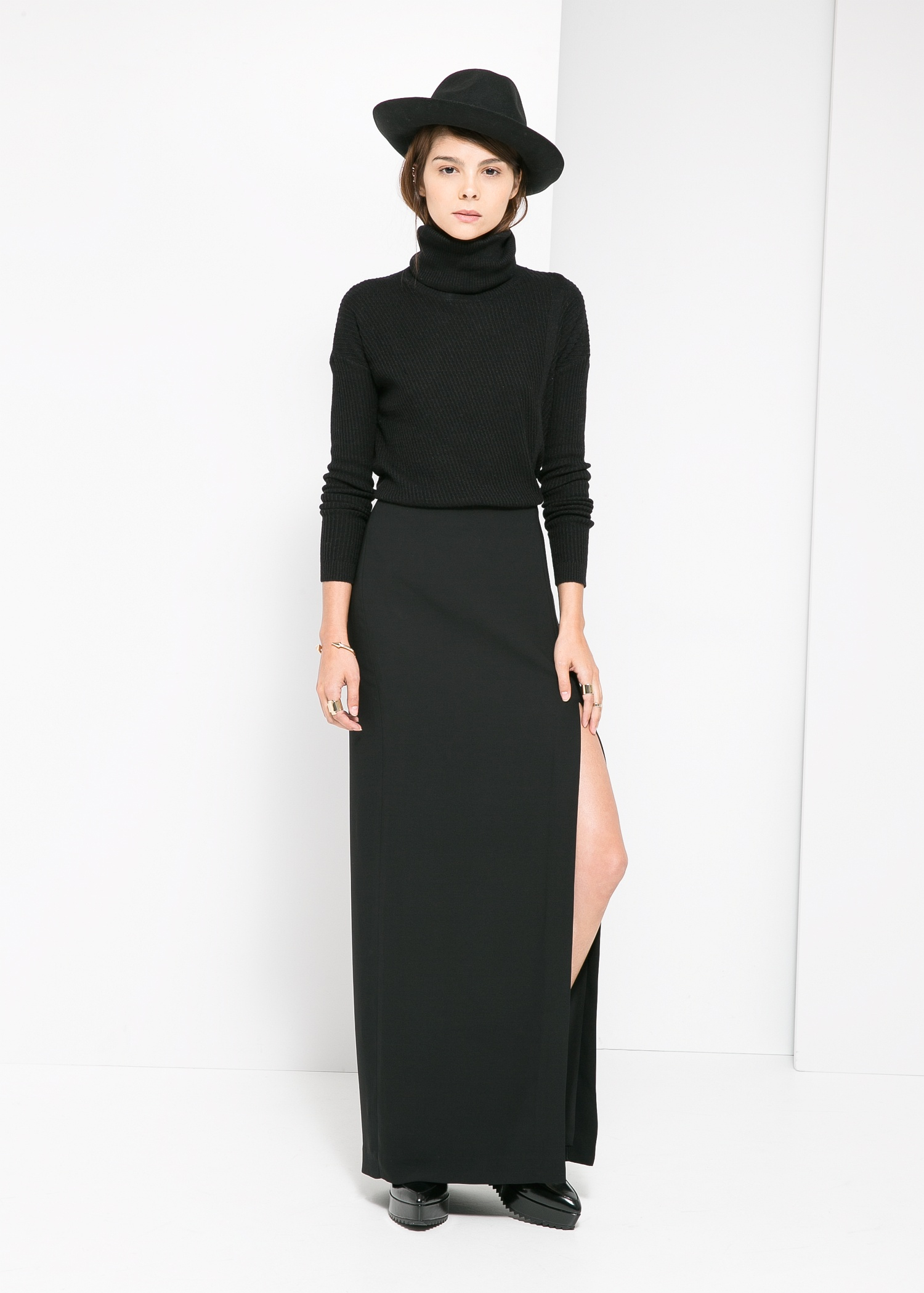 Mango Slit Long Skirt in Black | Lyst