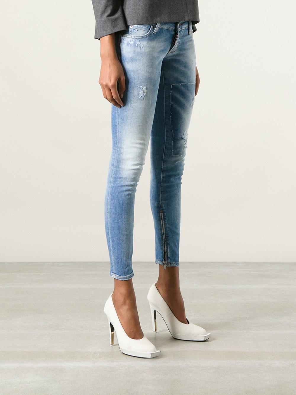 d0c85f5f0ae8e DSquared² Cropped Skinny Jean in Blue - Lyst