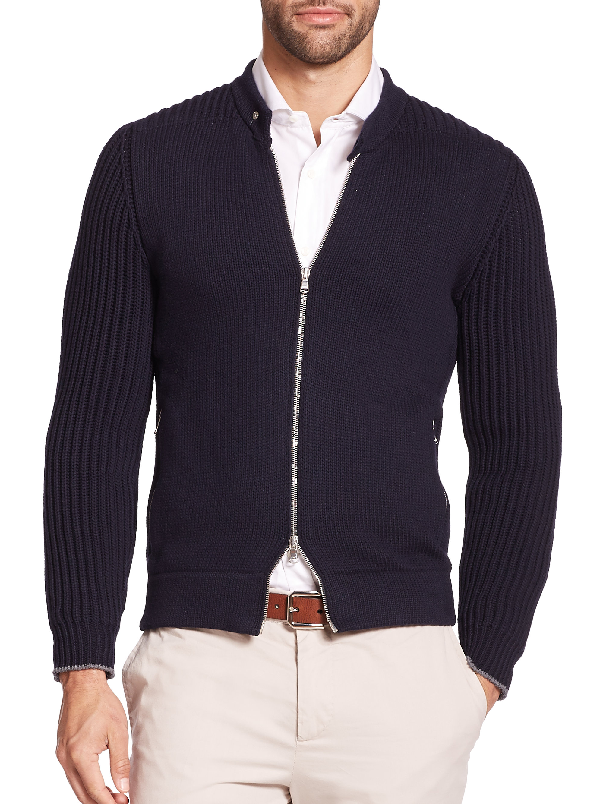 Brunello cucinelli Chunky Cotton-blend Zip Sweater in Blue for Men ...