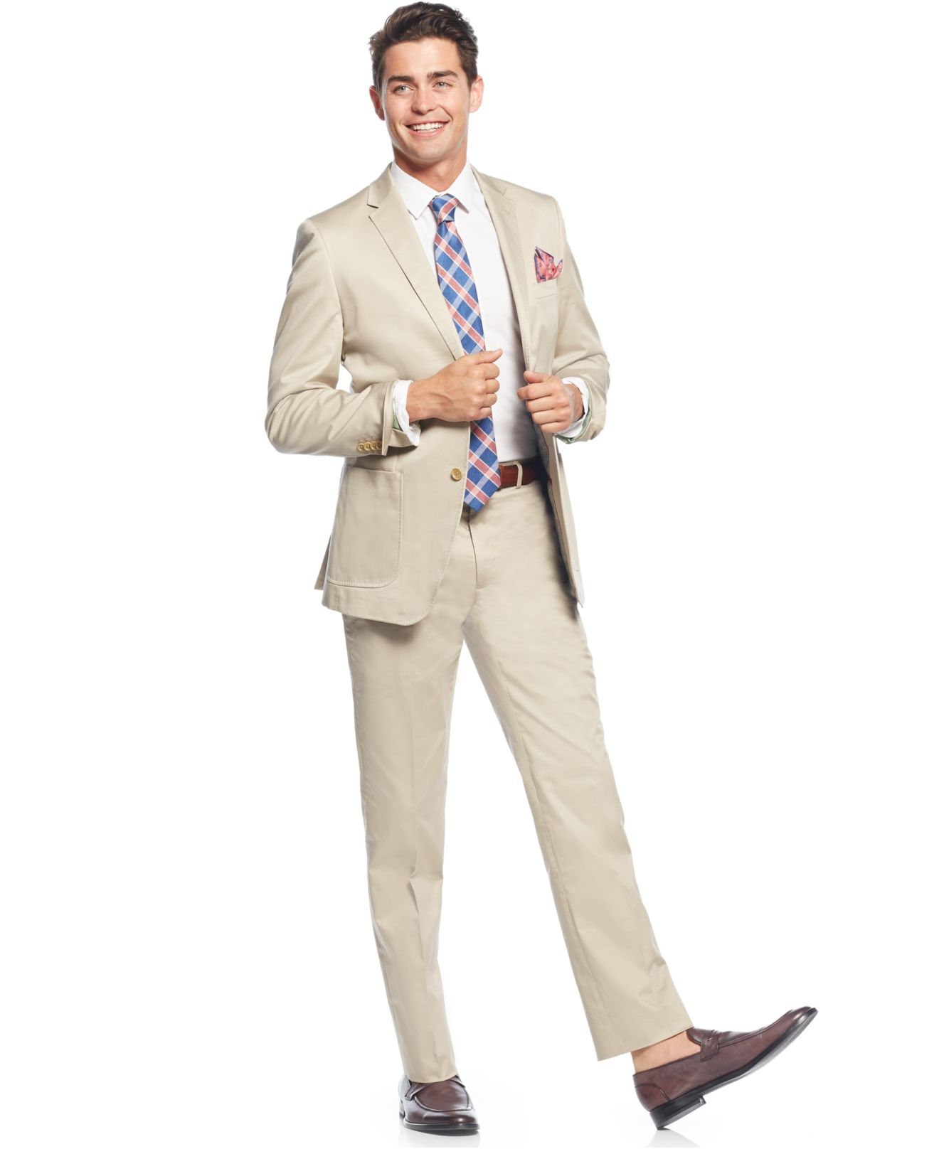 English laundry Cotton Khaki Solid Slim-fit Suit in Natural for
