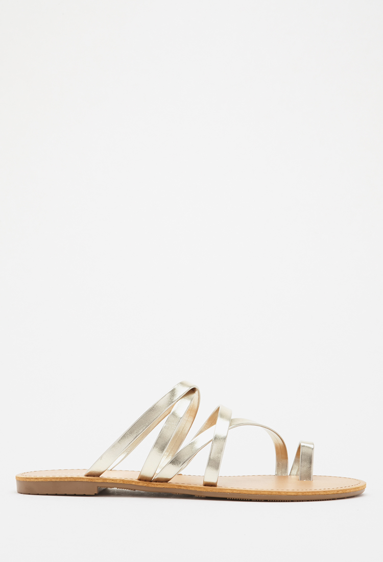 0f02ceb90d0965 Forever 21 Metallic Strappy Sandals in Metallic - Lyst