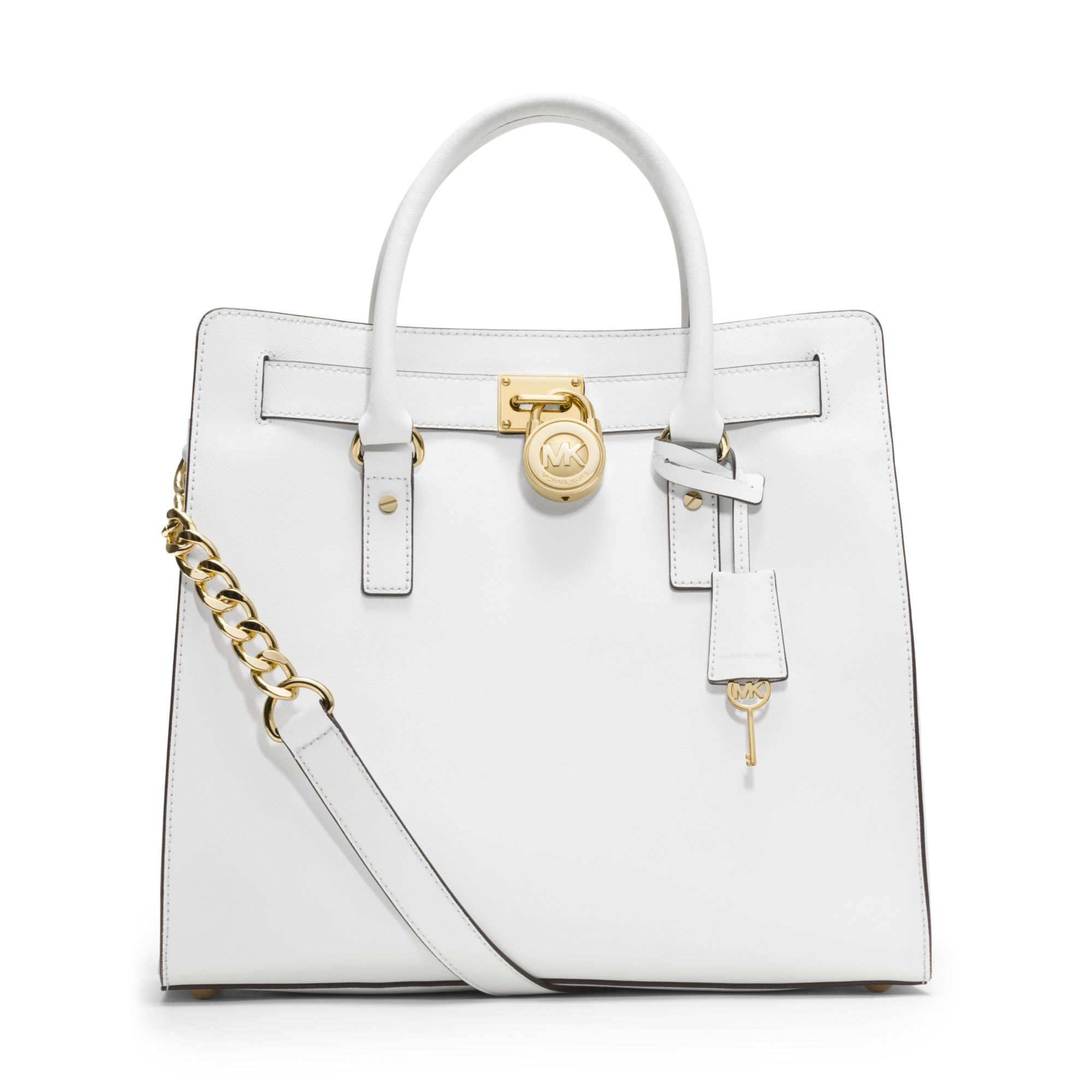 michael kors hamilton large saffiano leather tote in white lyst. Black Bedroom Furniture Sets. Home Design Ideas