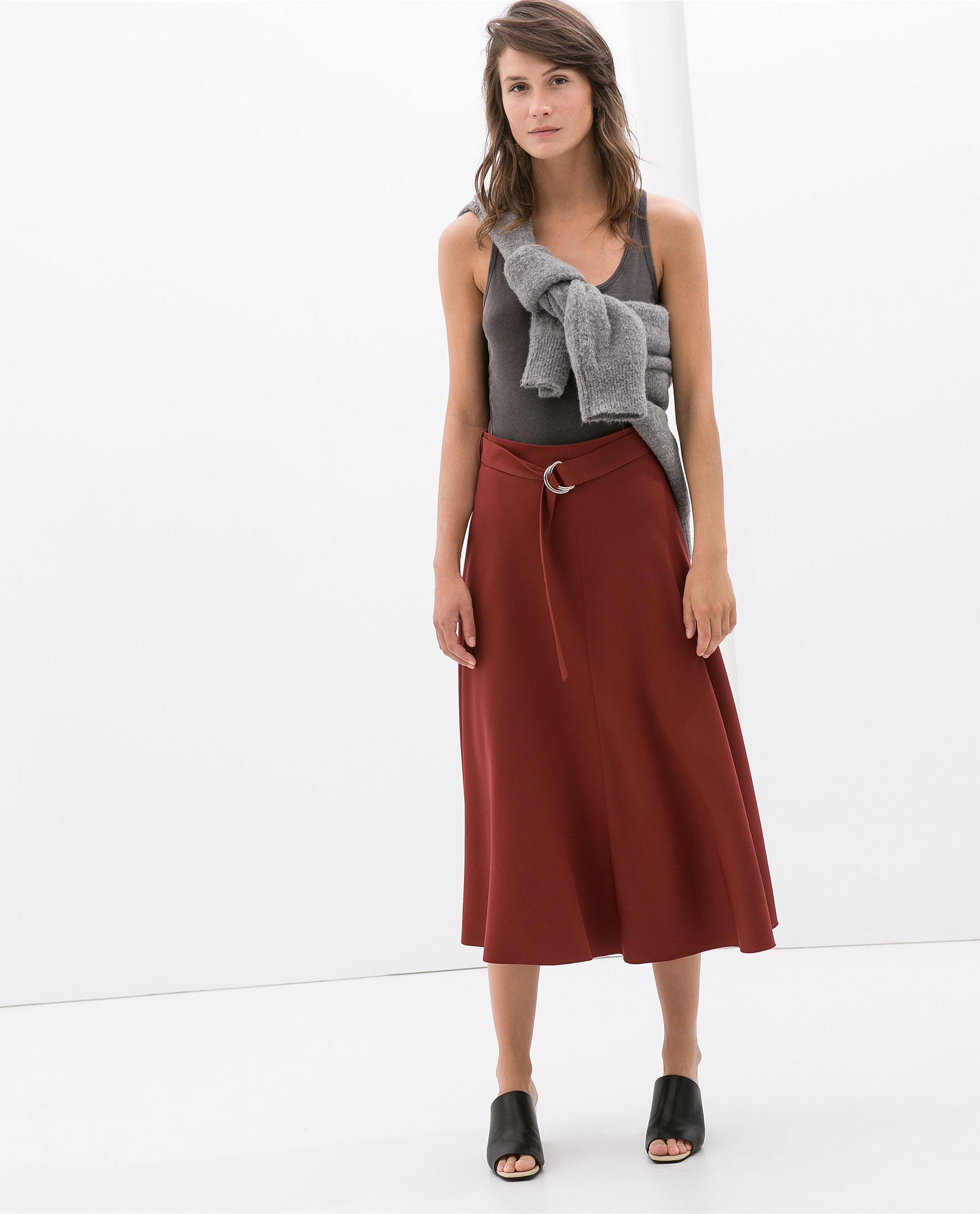 Zara High Waist Skirt With Belt in Red | Lyst