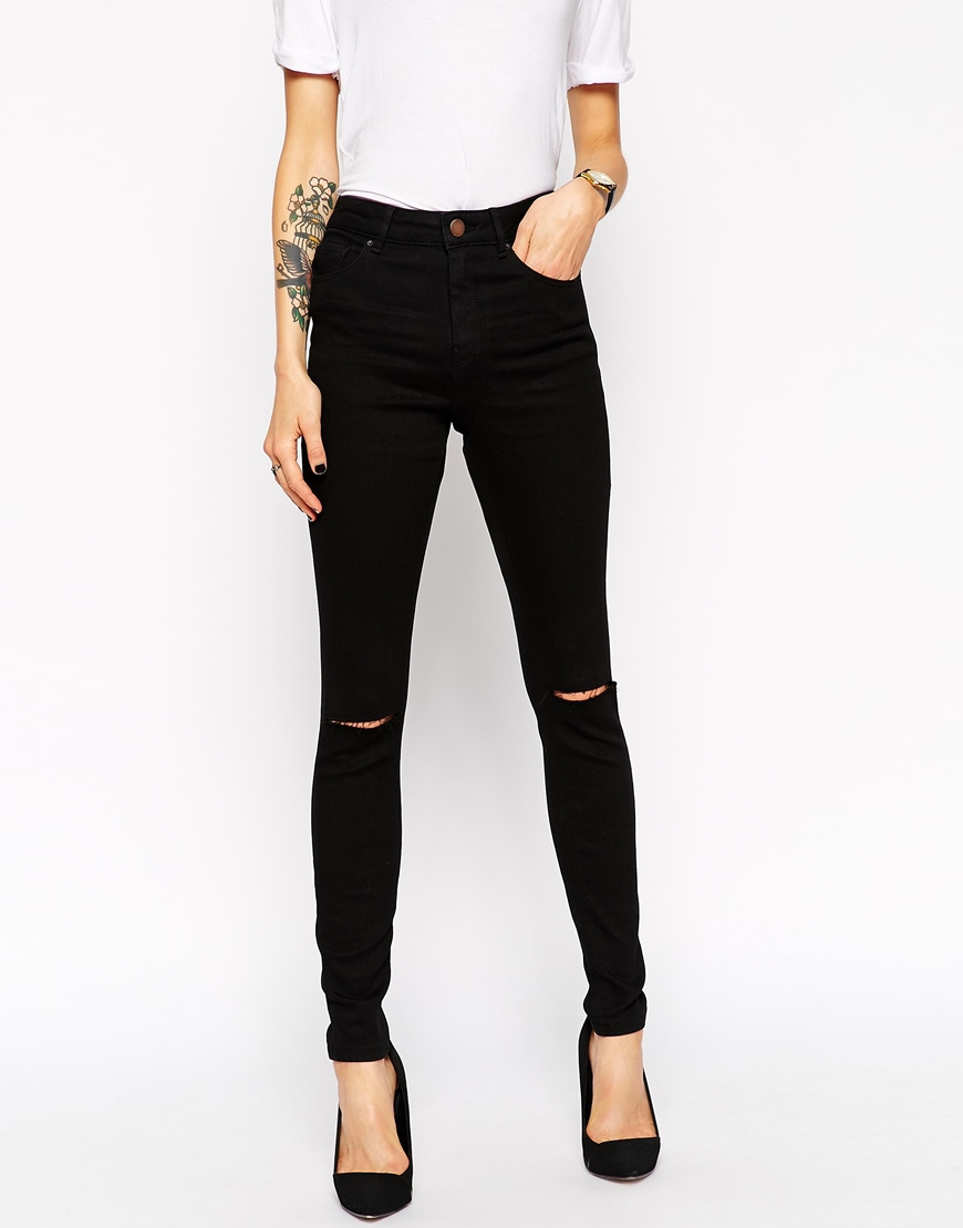 100% Original TALL Skinny Jeans In Black With Knee Rips - Black Asos Cheap Sale Largest Supplier Discount Amazing Price Free Shipping Nicekicks Huge Surprise EDyo7Q7