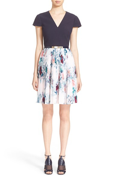 Lyst Ted Baker Dessy Acanthus Scroll Cap Sleeve Dress