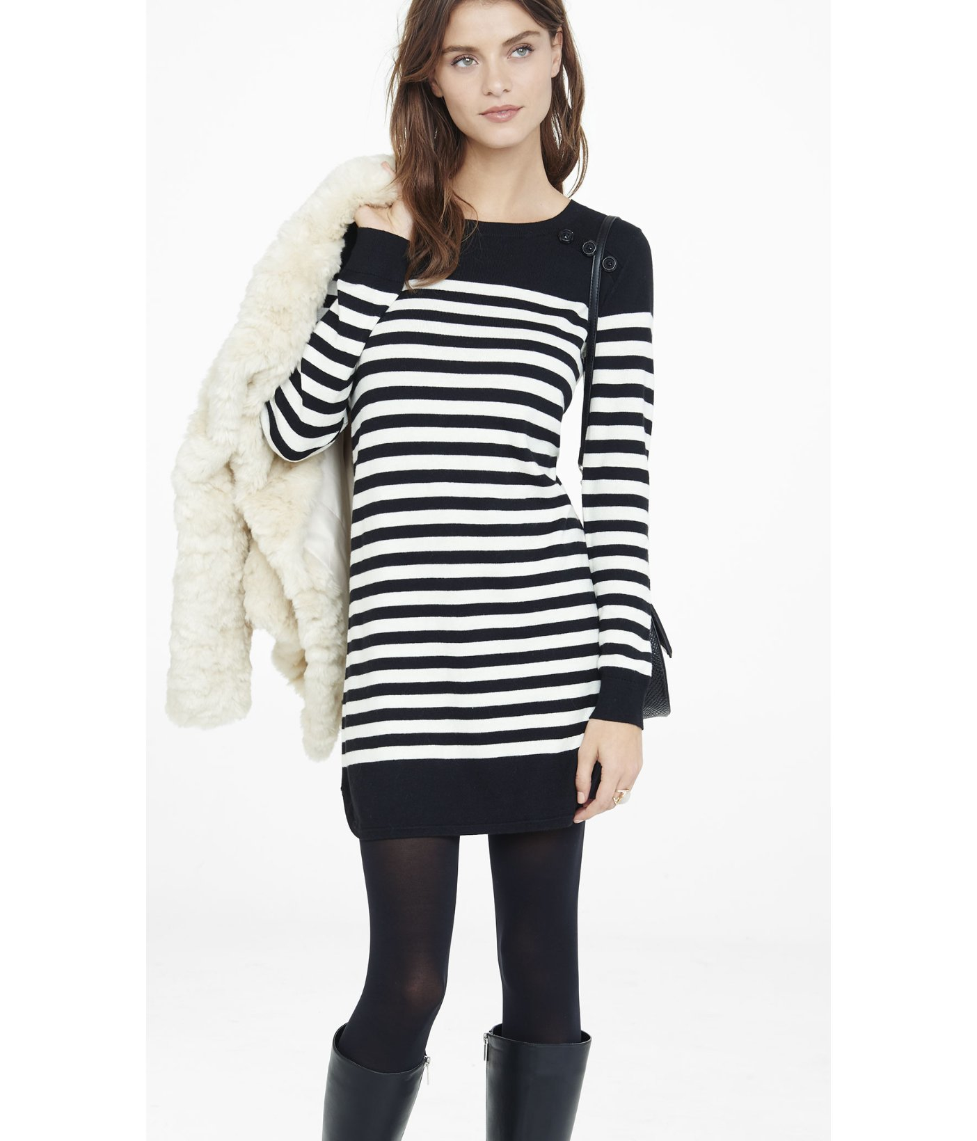 638d634a34a Lyst - Express Black And White Striped Sweater Dress In Black ...