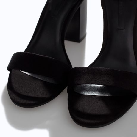 Zara Faux Patent Leather Block Heel Sandals In Black Lyst
