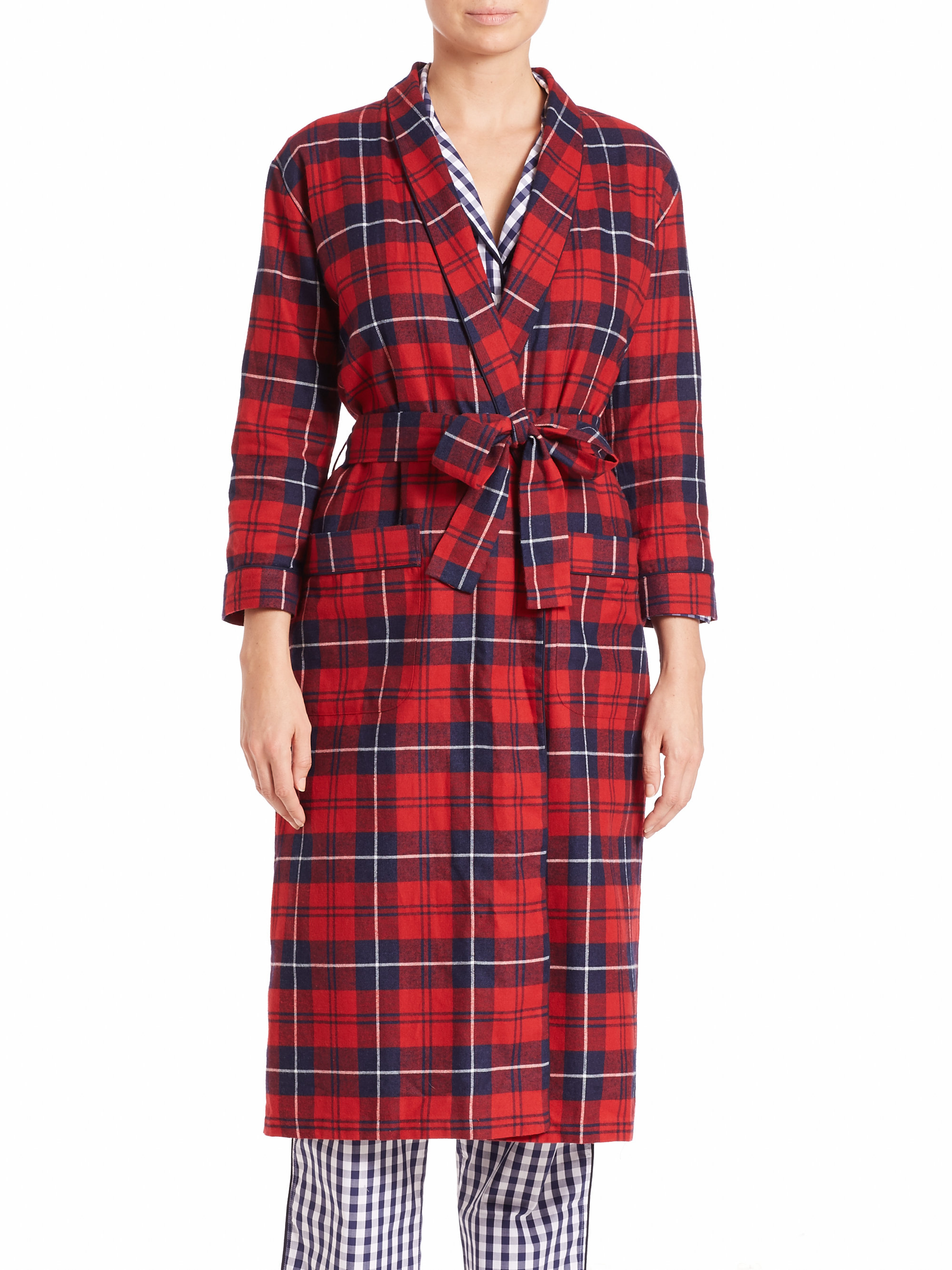 Lyst - Sleepy Jones Marianne Long Plaid Flannel Robe in Red