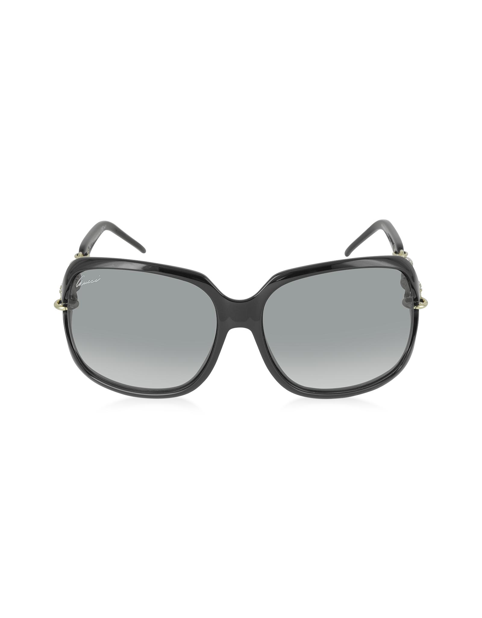 a86cc84957 Gucci Square Plastic Sunglasses W  Web Temples Black