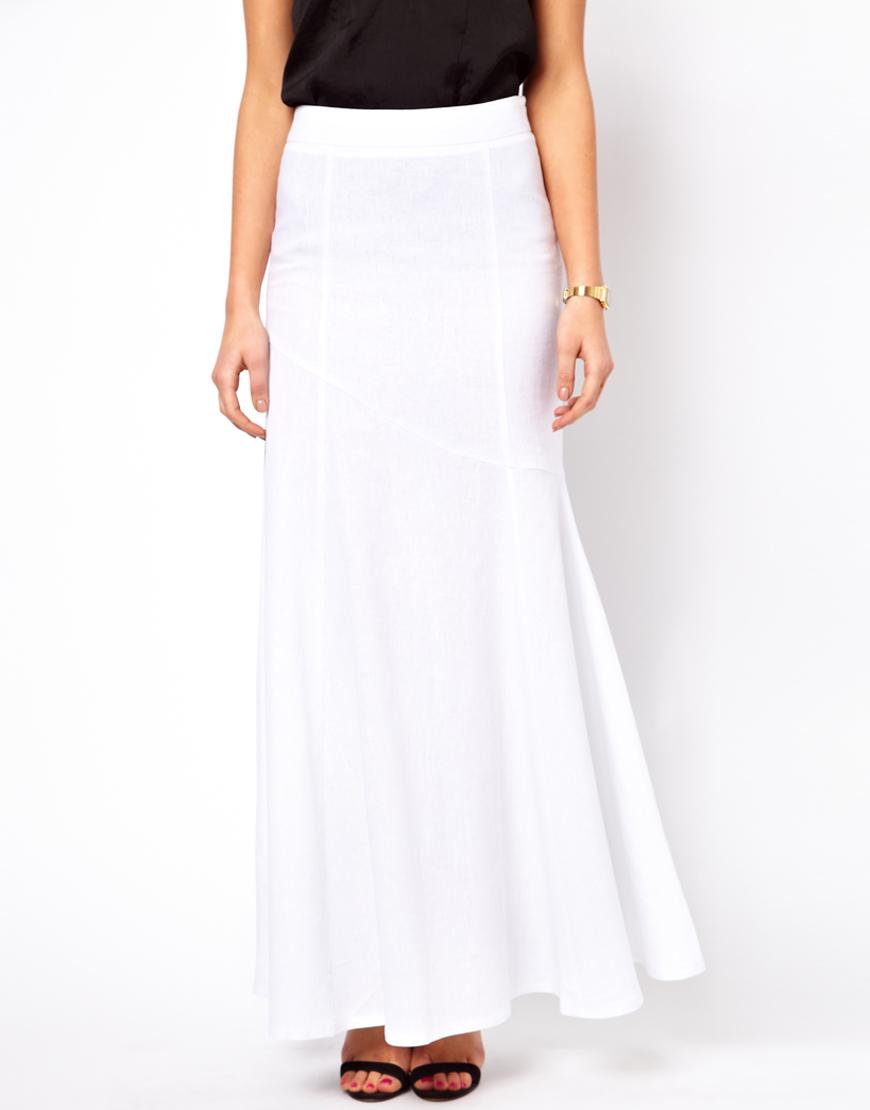 0cc05726ae9 Lyst - ASOS Maxi Skirt in Linen in White