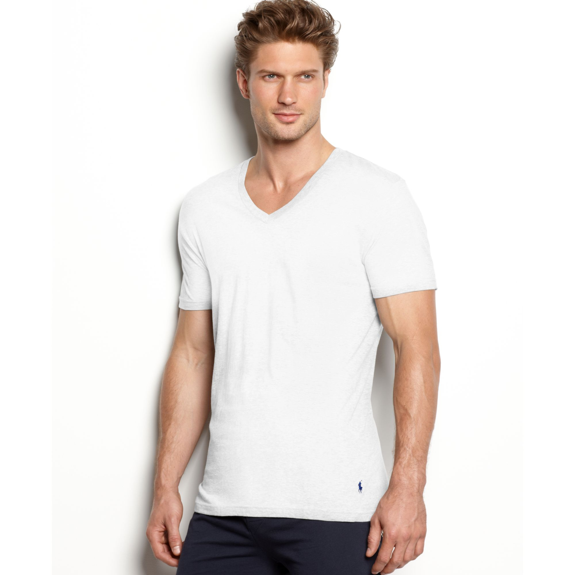 ff0b74a65adb Ralph Lauren Slim Fit Stretch V Neck T Shirt 2 Pack in White for Men ...