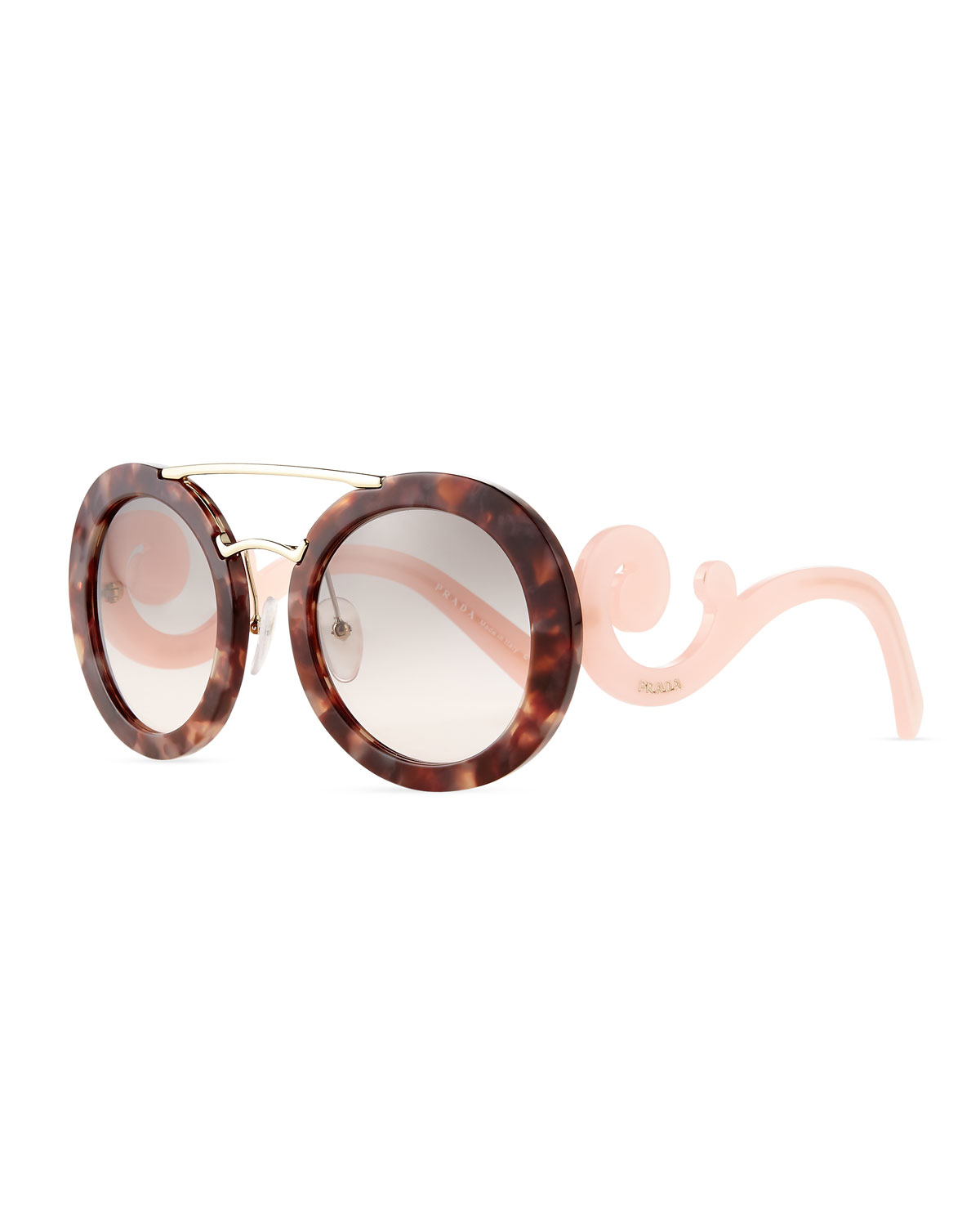 8bf450a9ab Lyst - Prada Baroque Round Brow-bar Sunglasses in Pink