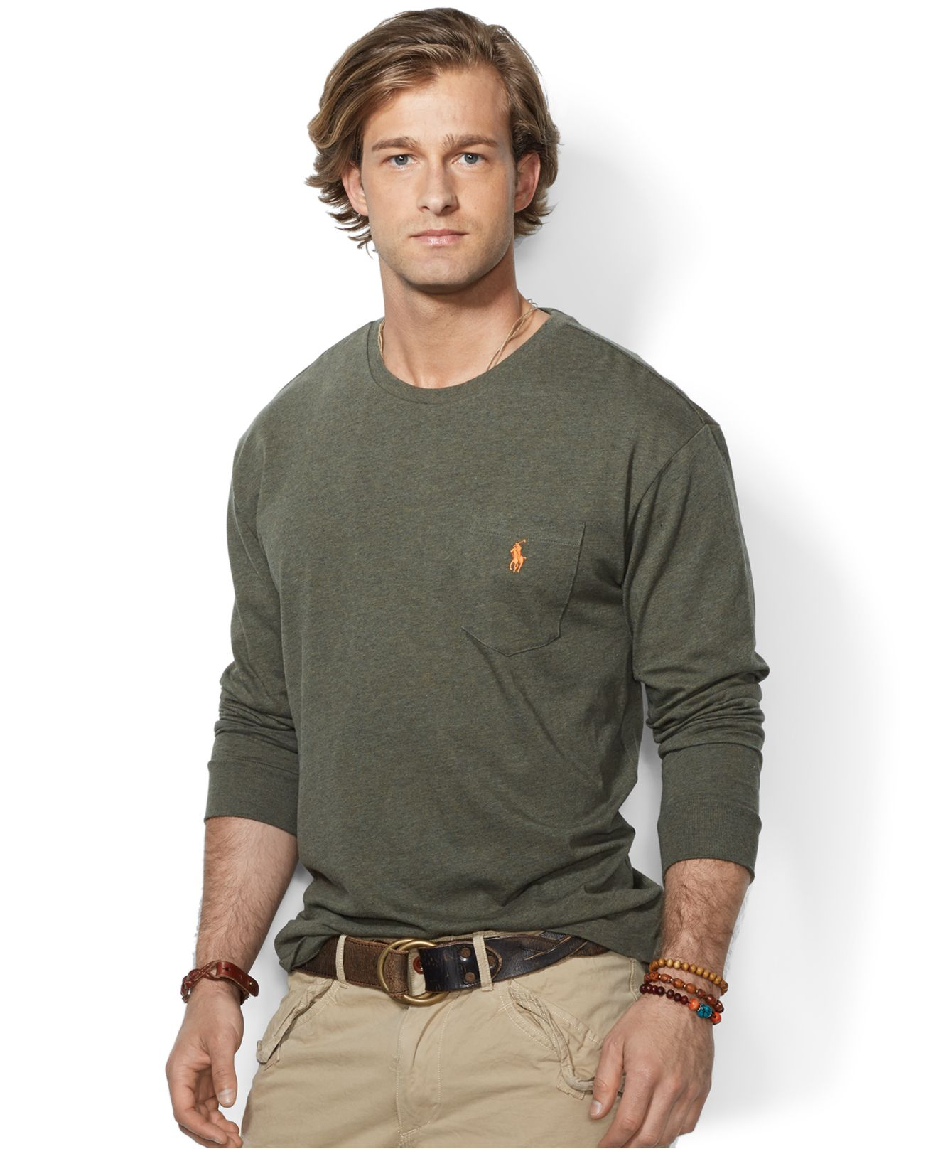 2bb4dd146c5a1 ... low price lyst polo ralph lauren classic fit long sleeved jersey pocket  crew 54e06 f573b