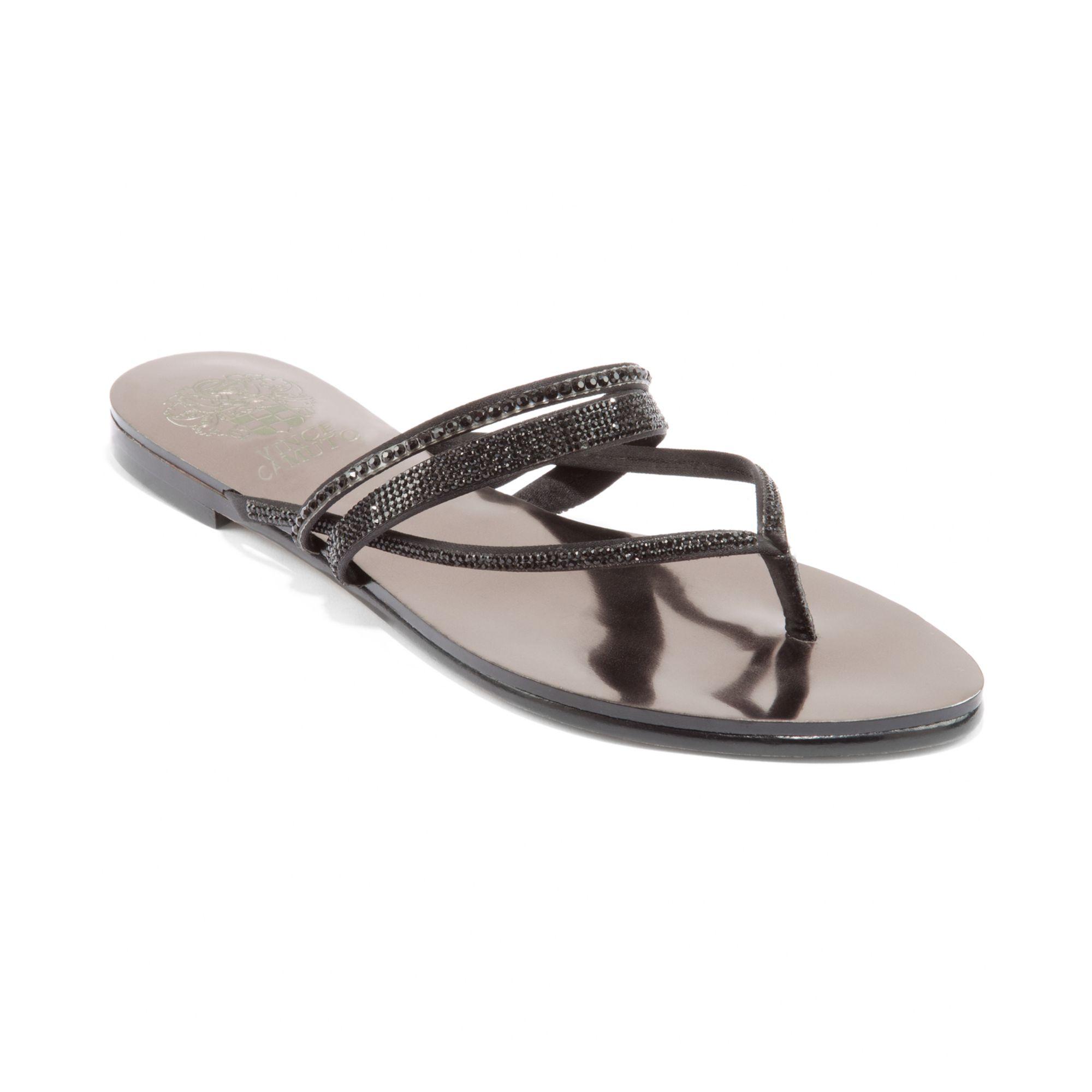 Vince Camuto Evora Jewled Flat Thong Sandals In Black Lyst