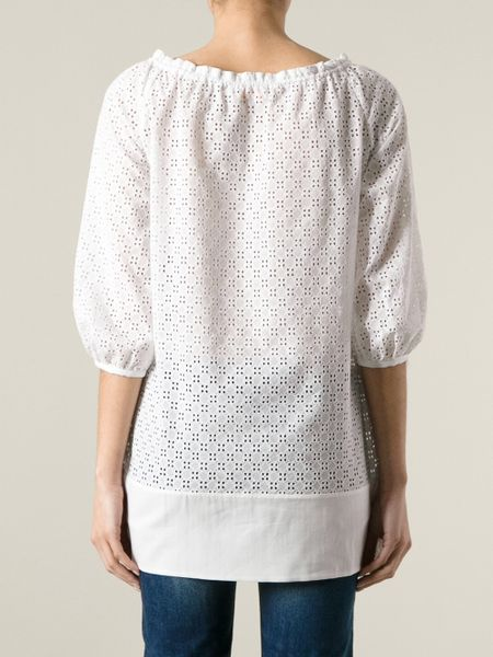 tory burch broderie anglaise tunic blouse in white lyst. Black Bedroom Furniture Sets. Home Design Ideas