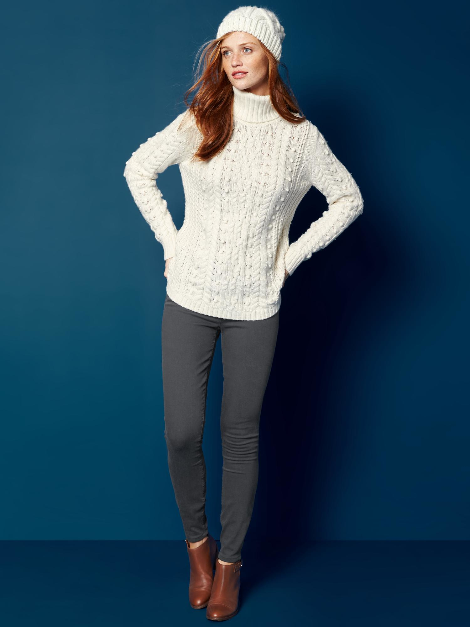 Lyst Gap Cable Knit Turtle Neck Sweater In Natural