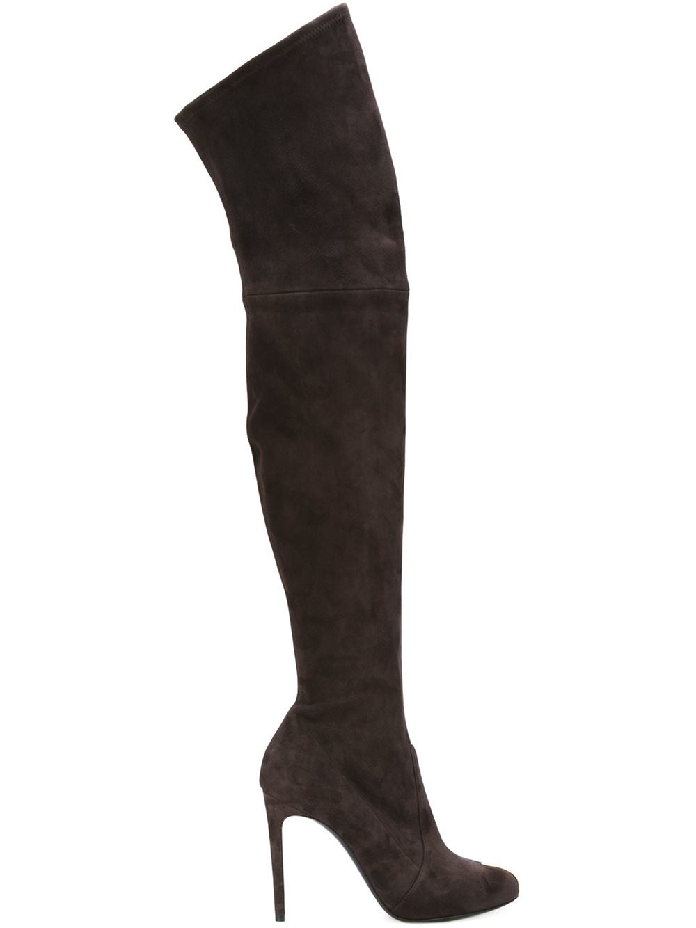 casadei thigh high stiletto boots in brown lyst