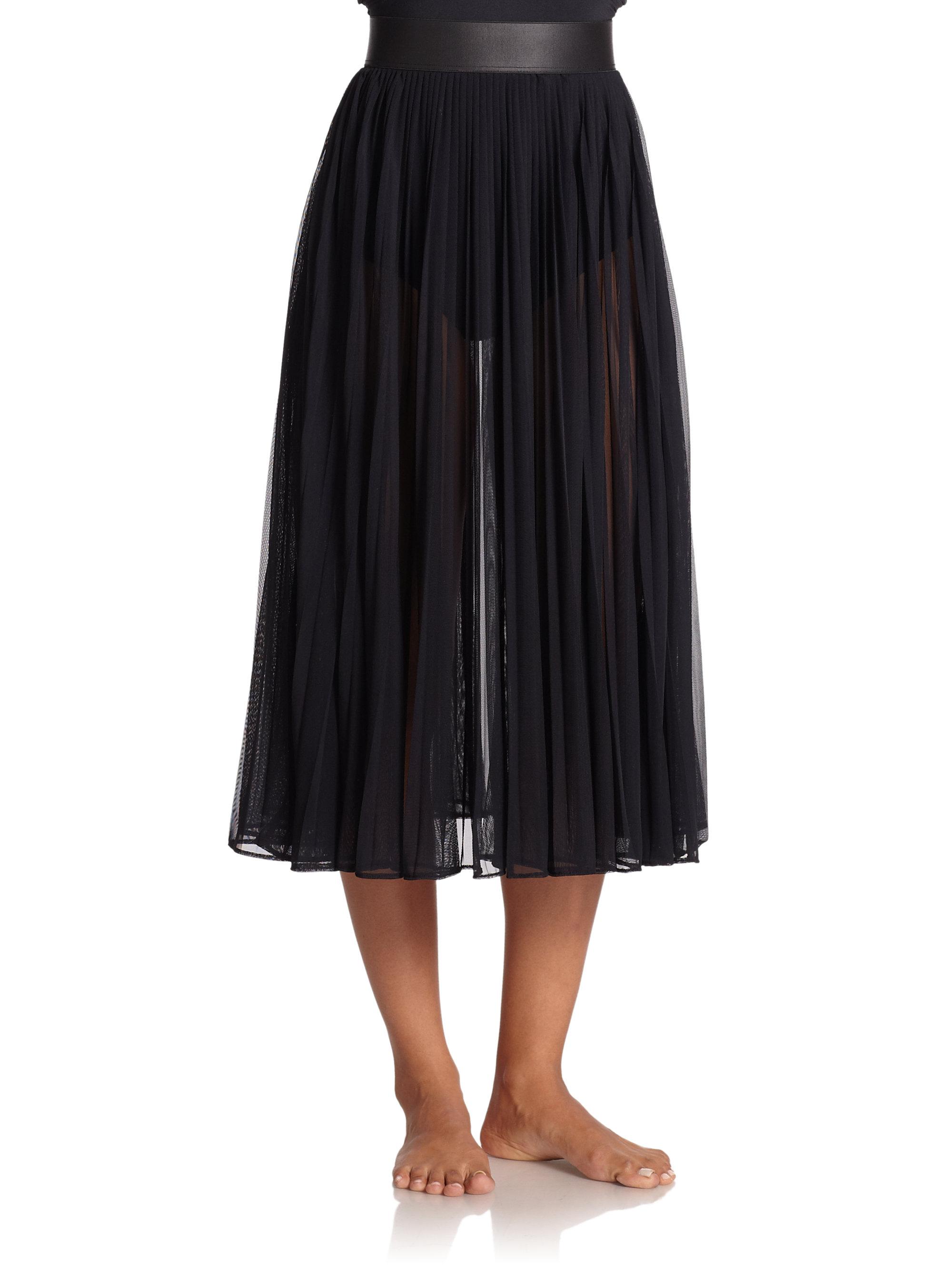 Carmen marc valvo Chiffon Midi Skirt Coverup in Black | Lyst