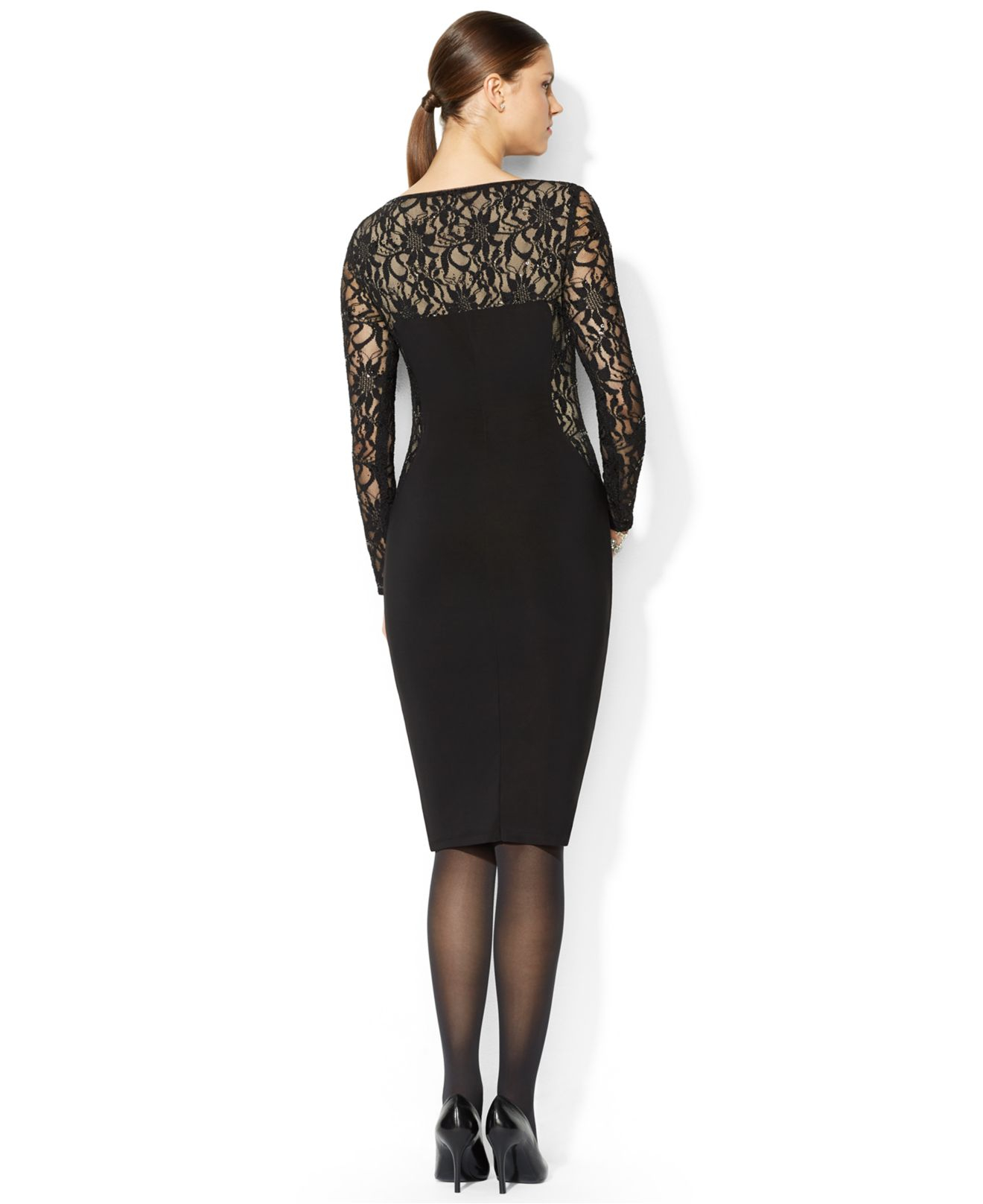Lauren by ralph lauren Petite Long-Sleeve Illusion-Lace Sheath ...