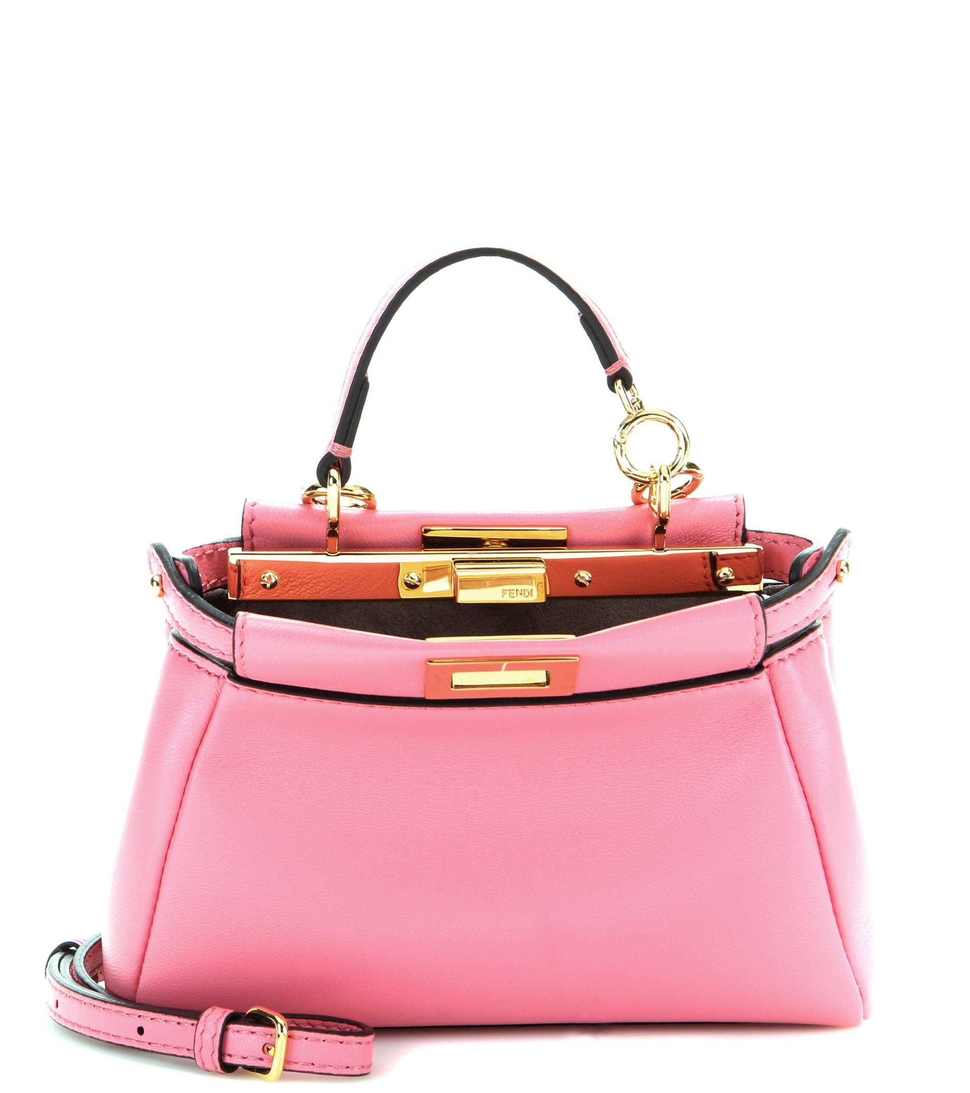 5f44cc7936 ... cheapest fendi micro peekaboo leather shoulder bag in pink lyst fce57  78065