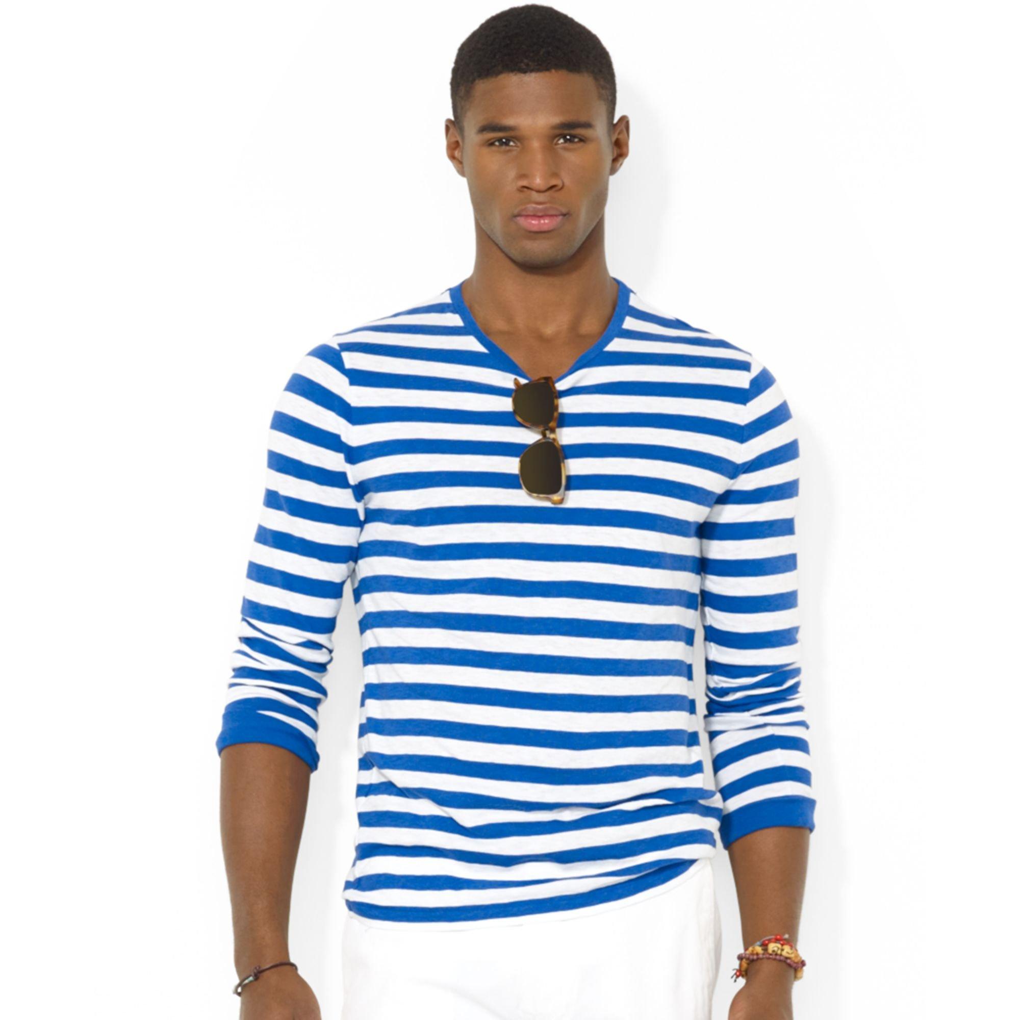 0cf30671e708 Lyst - Ralph Lauren Polo Longsleeved Striped Jersey Tshirt in Blue ...