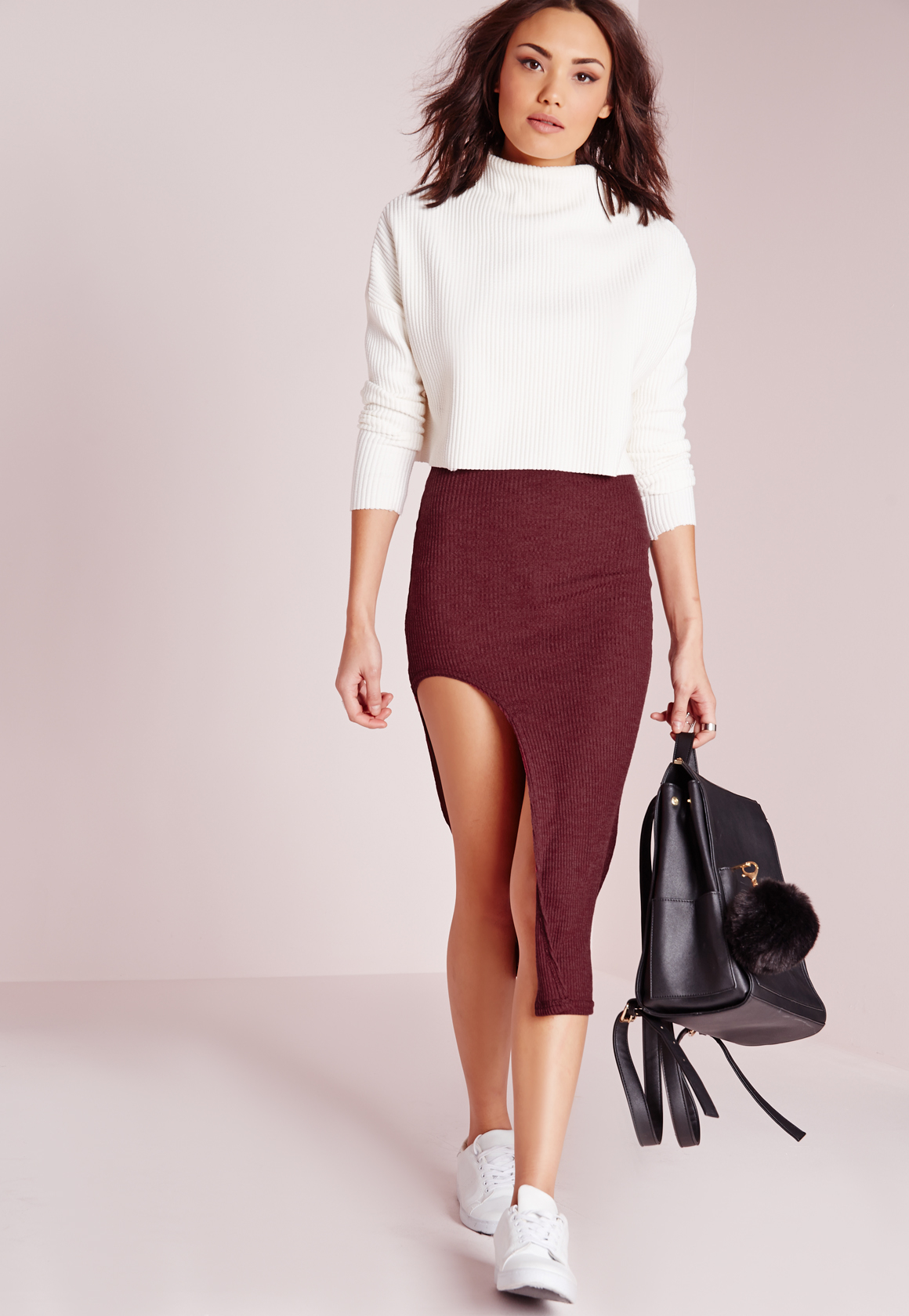 missguided curve hem split midi skirt burgundy in lyst