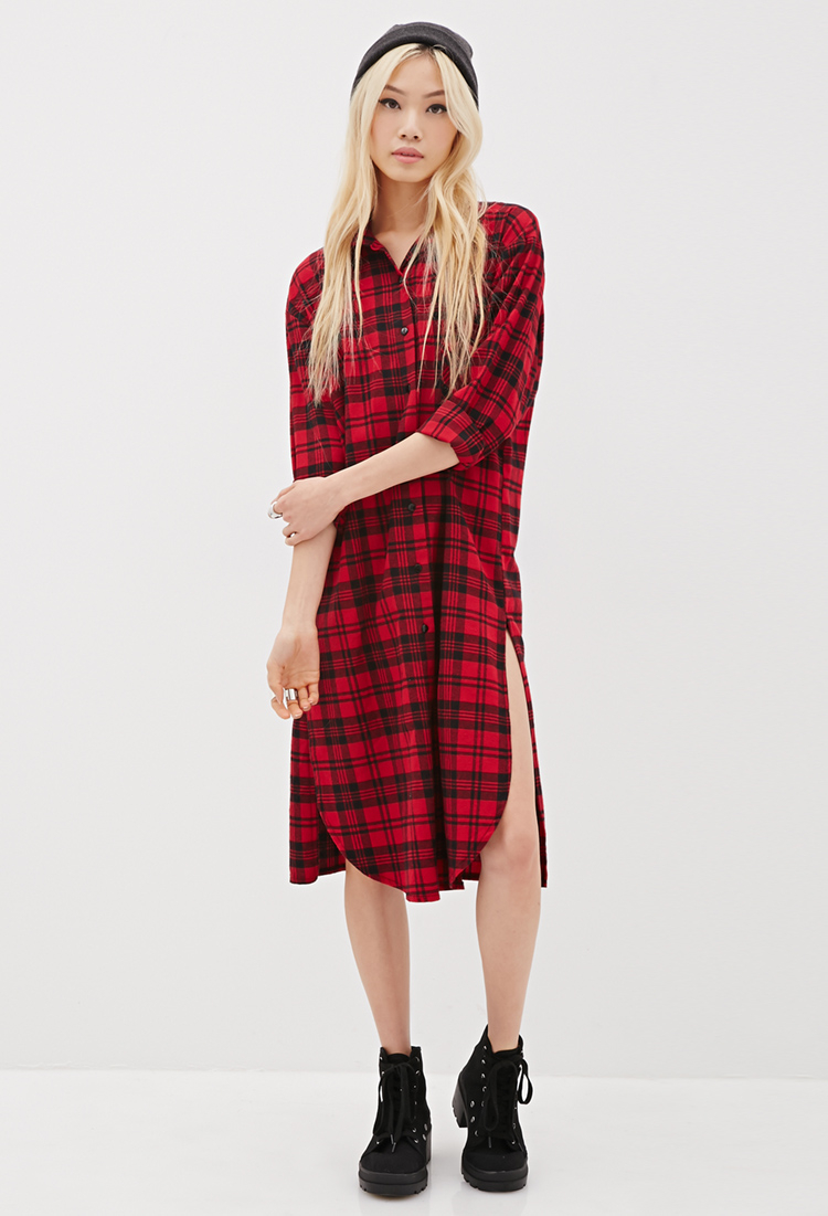 Forever 21 36 plaid shirt dress in red lyst for Red plaid dress shirt