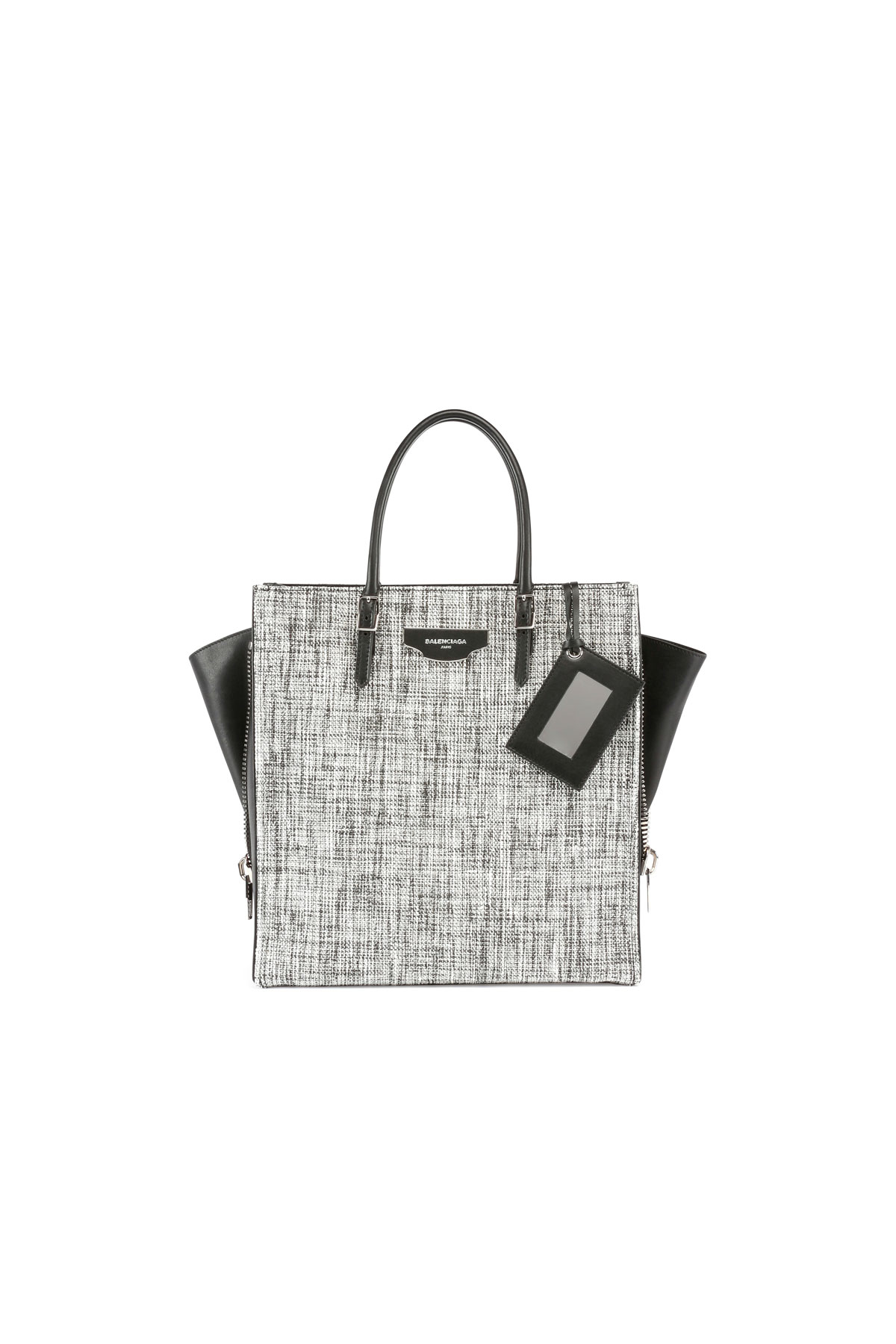 721cbdb5288a Lyst - Balenciaga Paper Zip-around Plate Tweed Tote Bag in Black