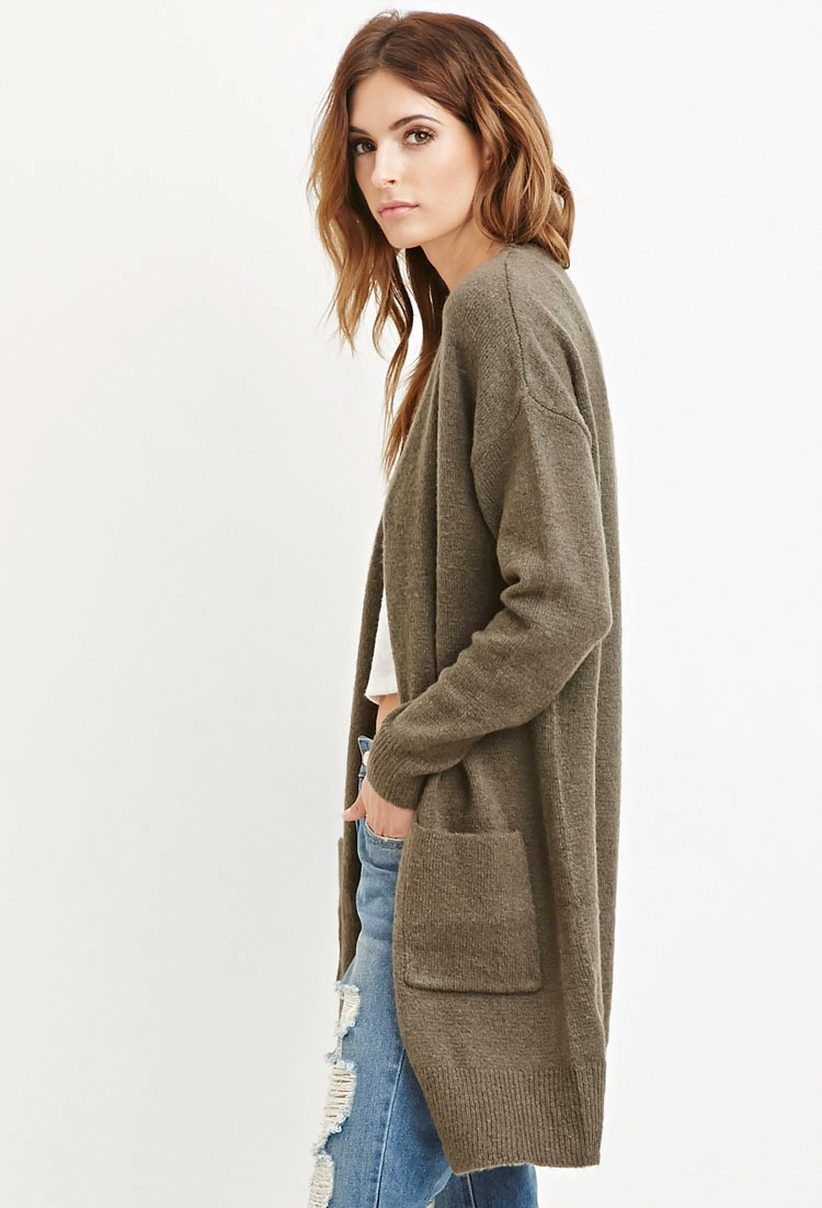 Forever 21 Contemporary Open-front Longline Cardigan in Green | Lyst