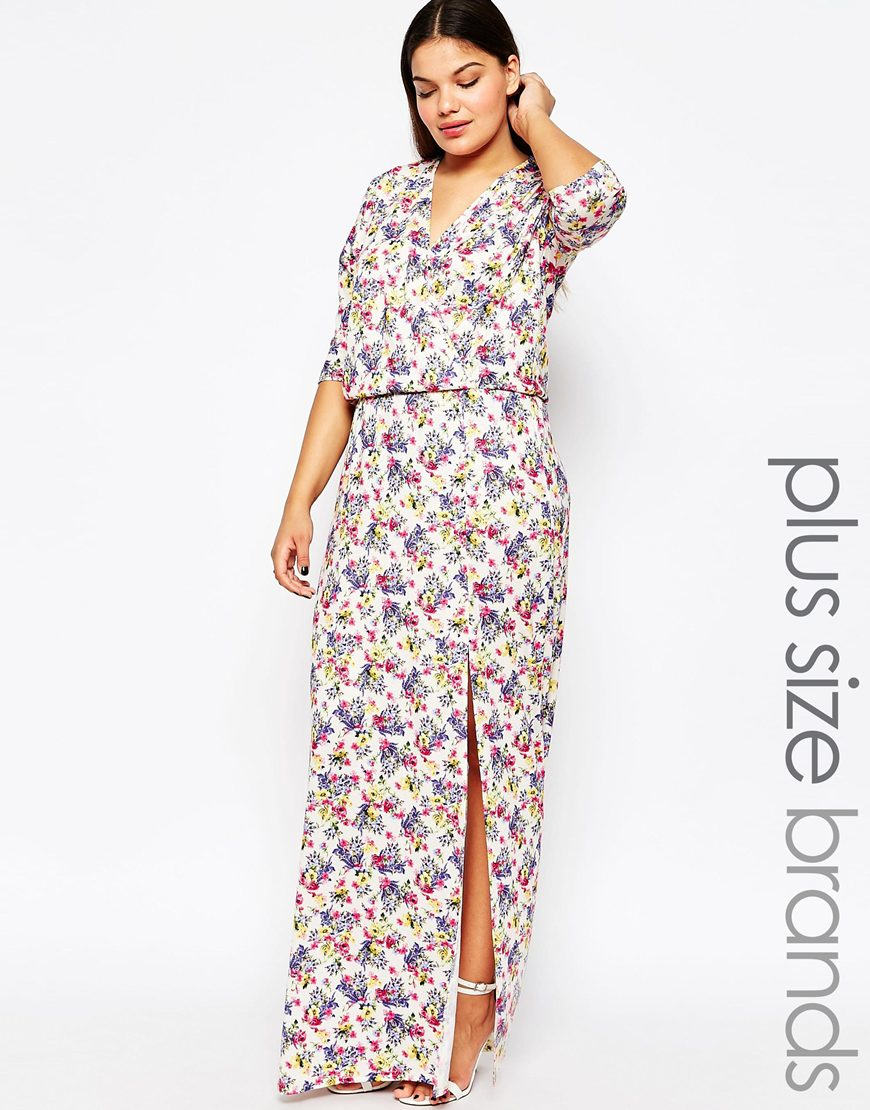 7632fa1317 Club L Plus Size Maxi Dress With Wrap Front In Ditsy Floral Print - Lyst