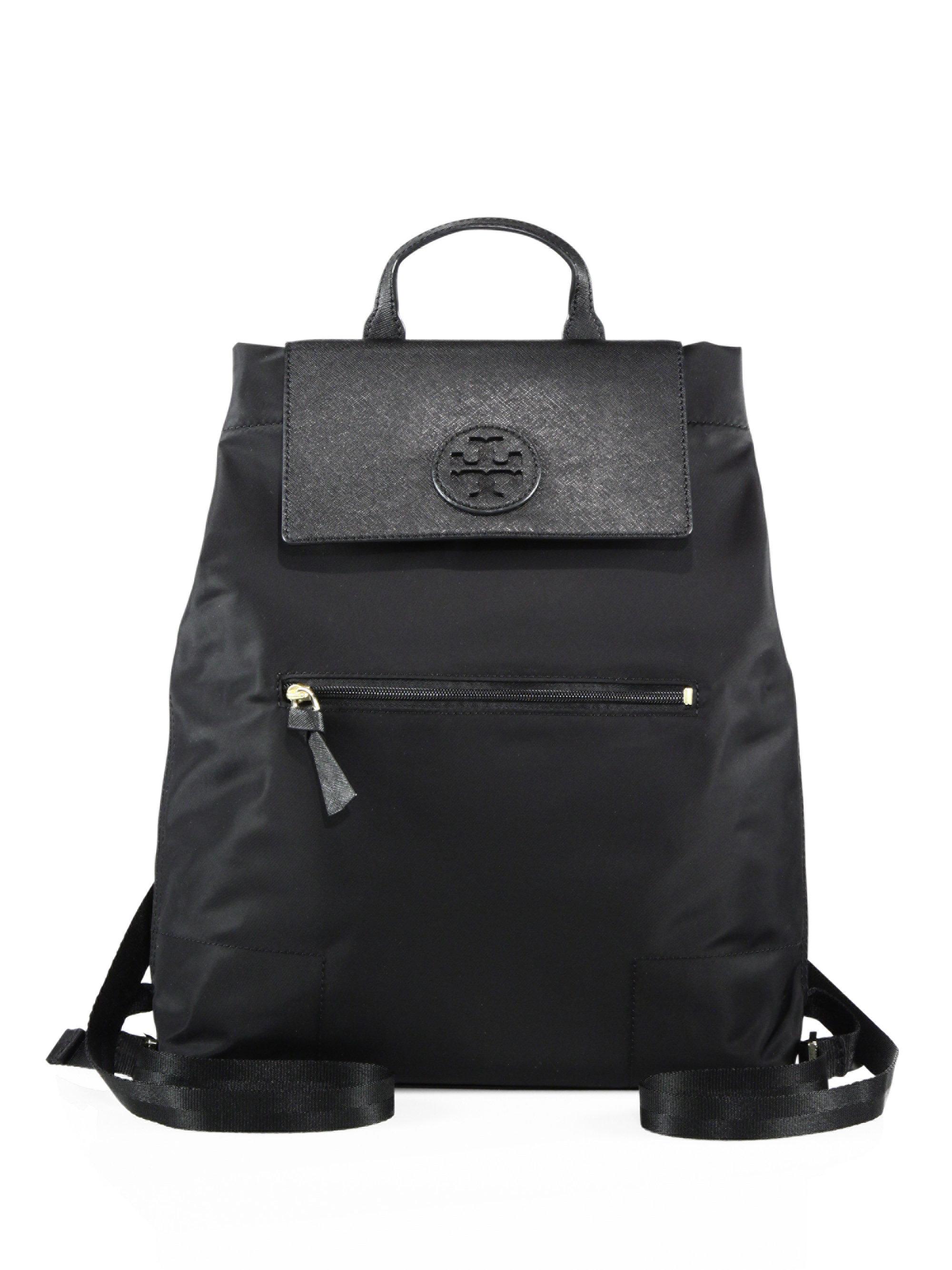 Lyst Tory Burch Ella Nylon Backpack In Black