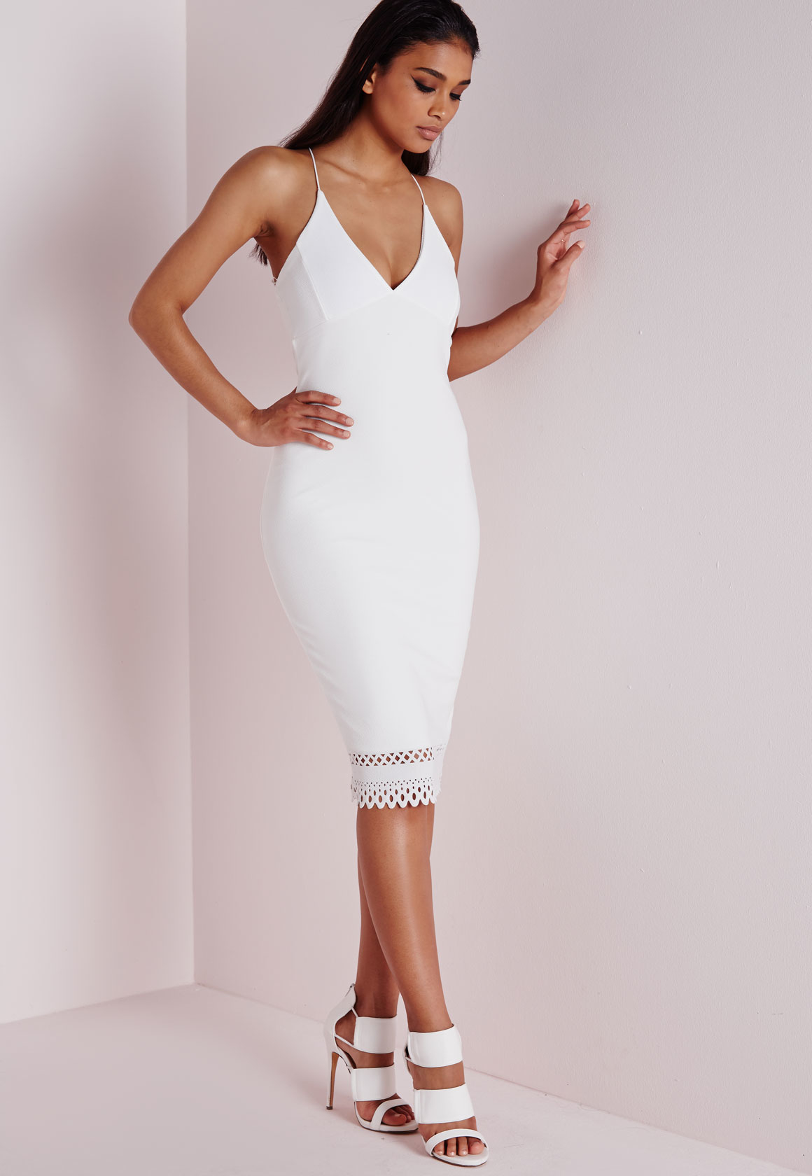 04d5bd74f67b Lyst - Missguided Crepe Plunge Strappy Laser Cut Midi Dress White in ...