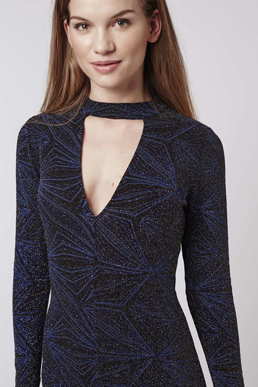 Lyst Topshop Neck Band Plunge Glitter Dress In Blue